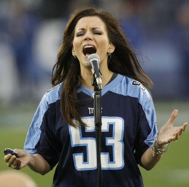 Singer Martina McBride sings the national anthem before the AFC Divisional  Round NFL playoff football game between the Tennessee Titans and the  Baltimore ... e306b4dc2246