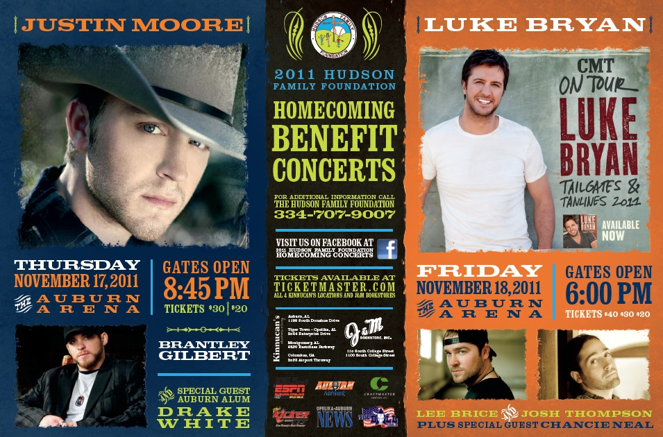 You could win vip tickets to see justin moore or luke bryan to host two fantastic events on november 17 and 18 to celebrate homecoming weekend at auburn university in auburn al justin moore brantley gilbert m4hsunfo