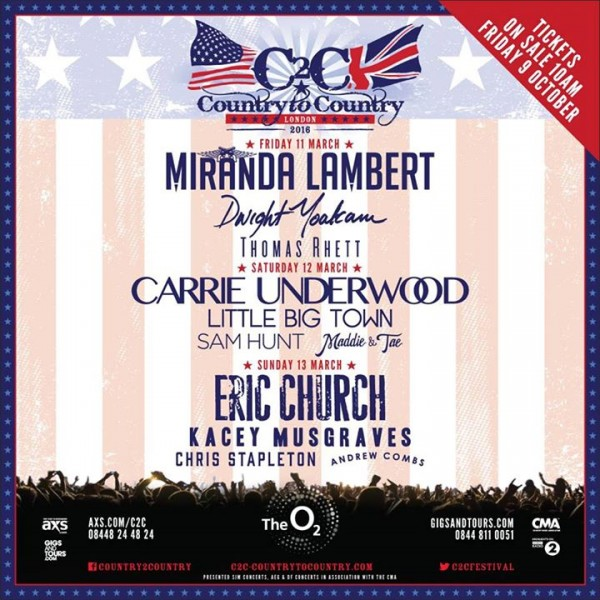C2C Country To Country Festival Announces 2016 Lineup