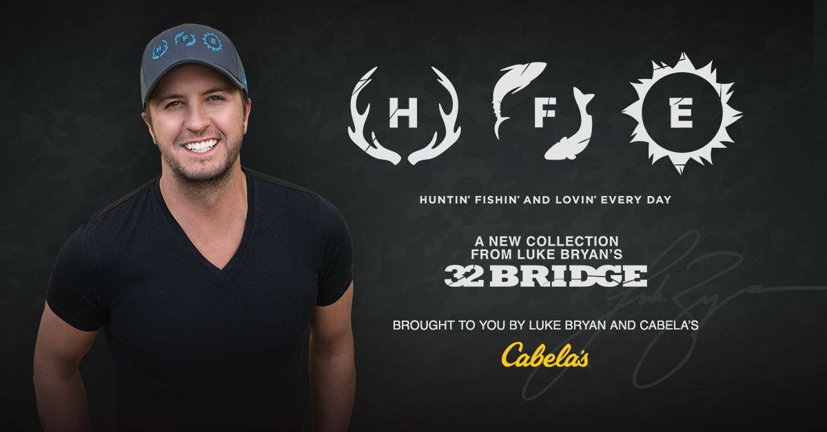 Luke bryan expands 32 bridge clothing line with hfe for Hunting fishing loving everyday