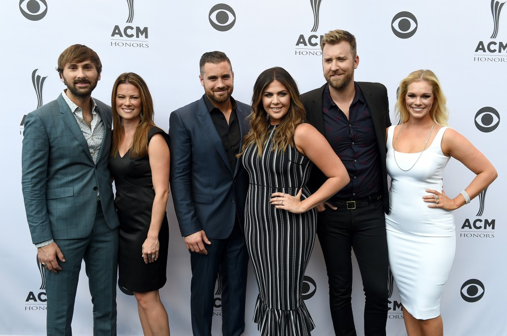 Pictured L-R: Lady Antebellum's Dave Haywood, Kelli Haywood, Chris Tyrrell, LA's Hillary Scott, LA's Charles Kelley, Cassie Kelley; Goldring/Getty Images for ACM
