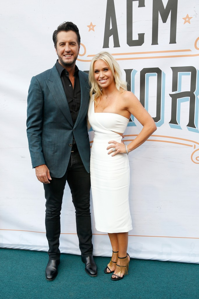 Luke Bryan and his wife, Caroline; Photo by Terry Wyatt/Getty Images for ACM