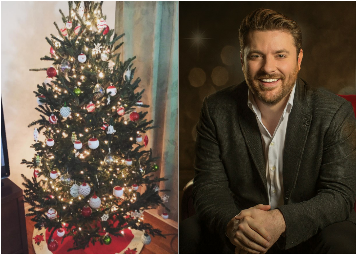 for chris young decorating the christmas tree is a family affair
