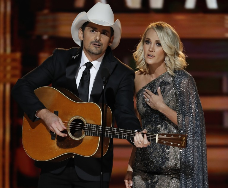 Carrie Underwood and Brad Paisley Bring the Laughs During CMA Awards Open Monologue
