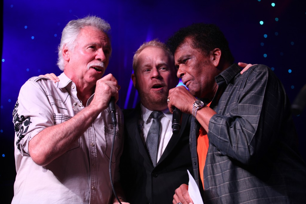 Pictured: Joe Bonsall from the Oak Ridge Boys, Jamie Dailey from Dailey & Vincent and Charley Pride; Photo courtesy Time Life