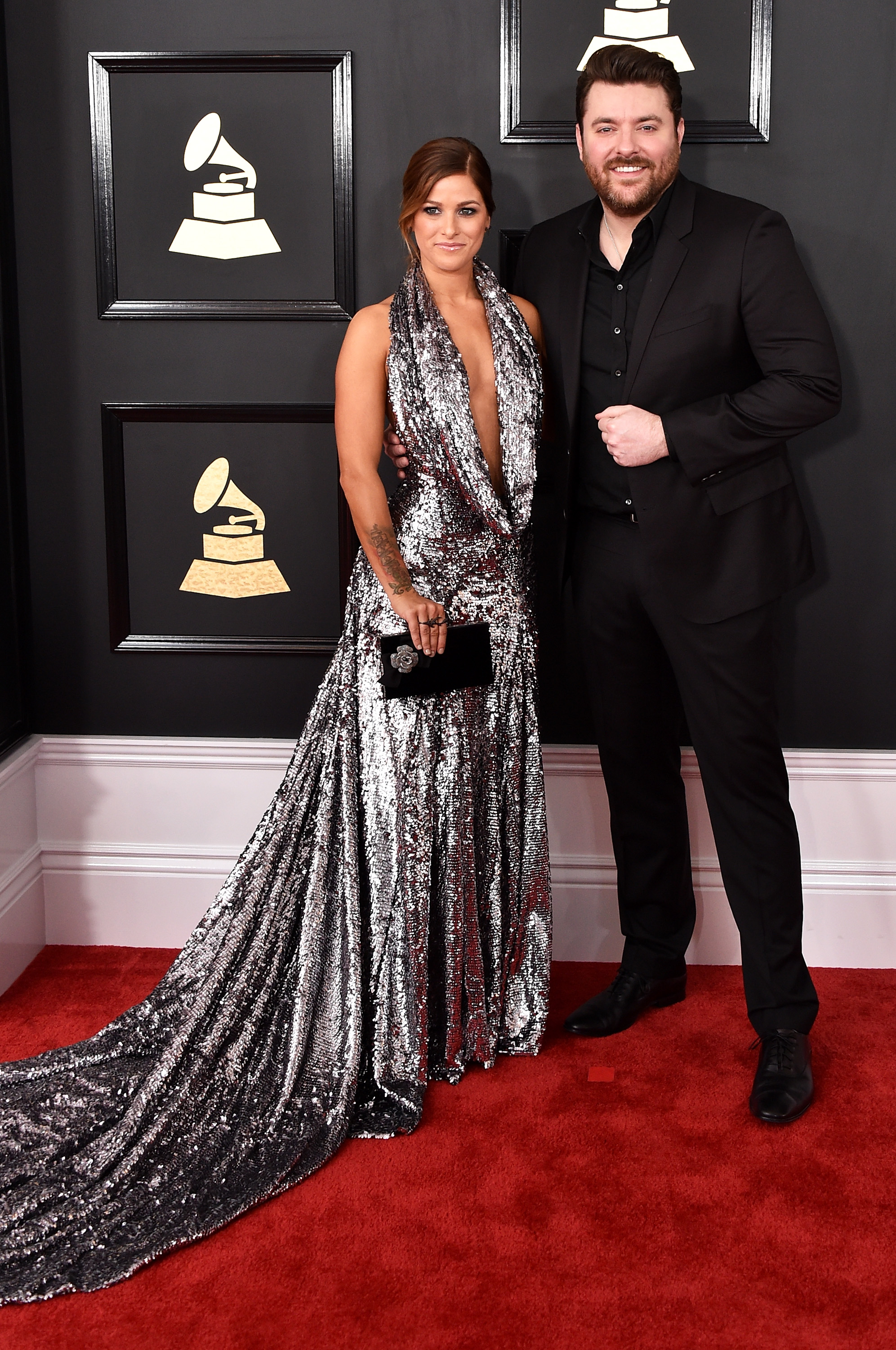Cassadee Pope and Chris Young attend The 59th GRAMMY Awards; Photo by John Shearer/WireImage