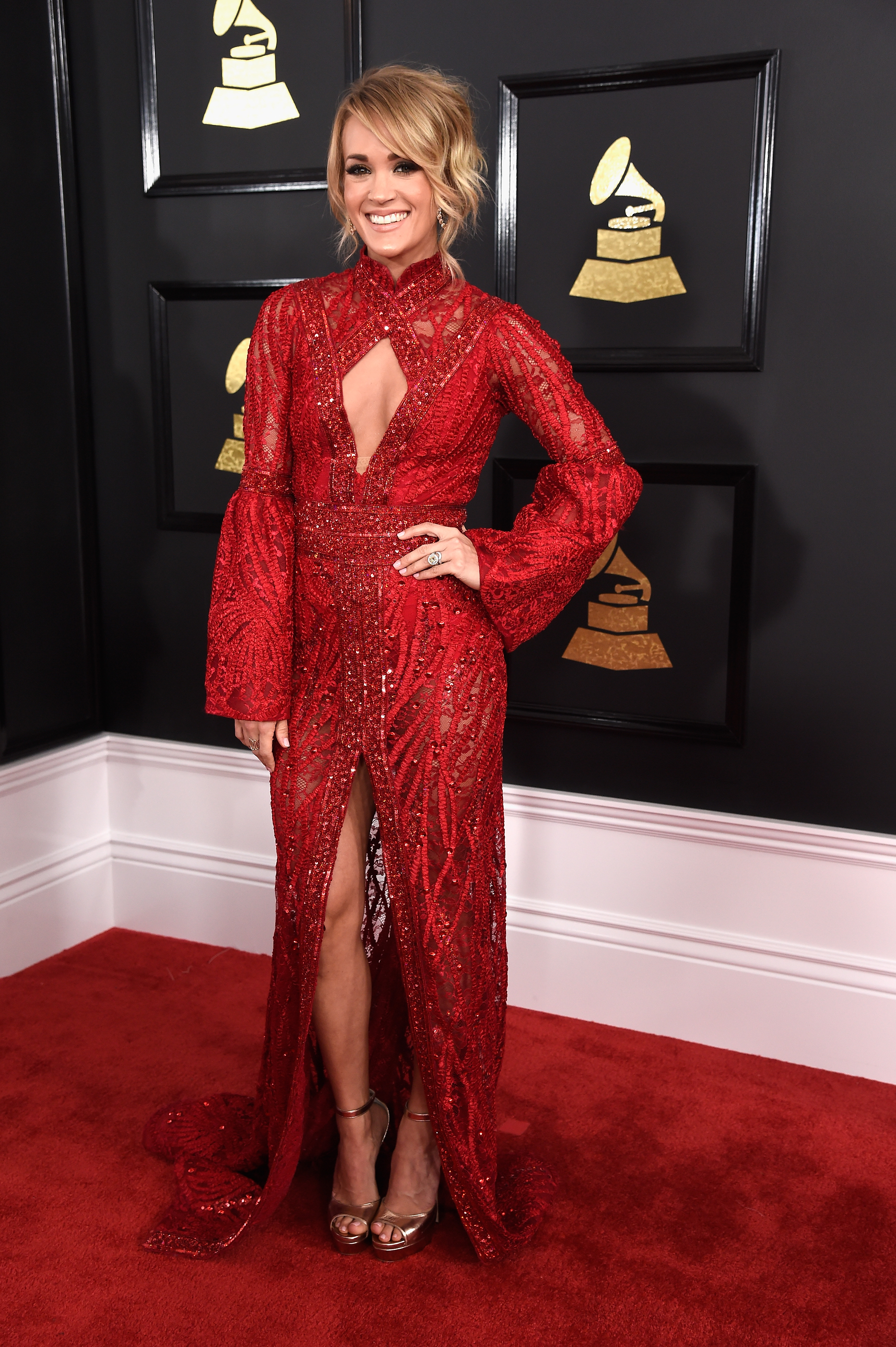 Carrie Underwood attends The 59th GRAMMY Awards; Photo by Kevin Mazur/WireImage