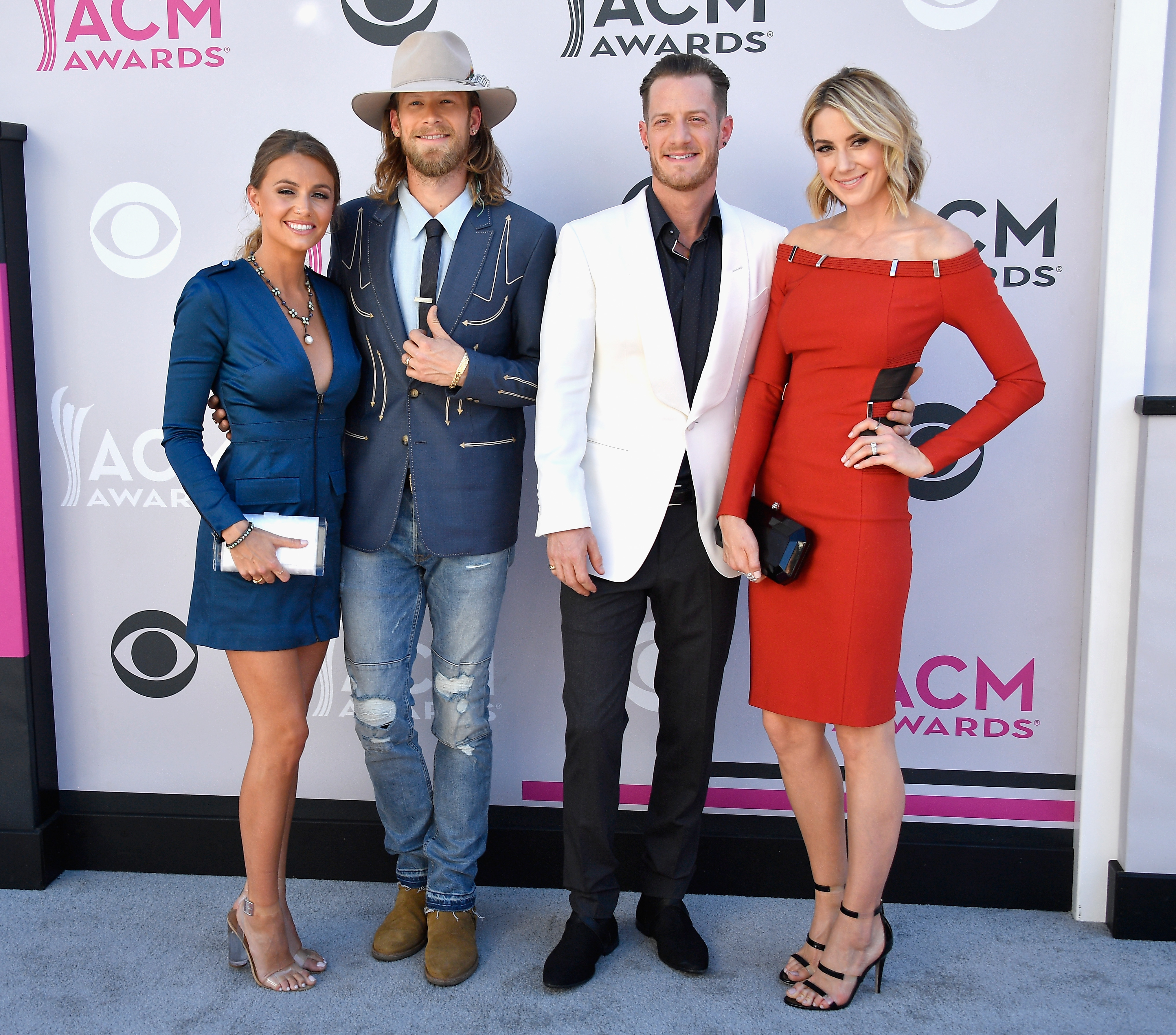 Brittney Marie Cole, recording artists Brian Kelley and Tyler Hubbard of music group Florida Georgia Line, and Hayley Stommel; Photo by Frazer Harrison/Getty Images