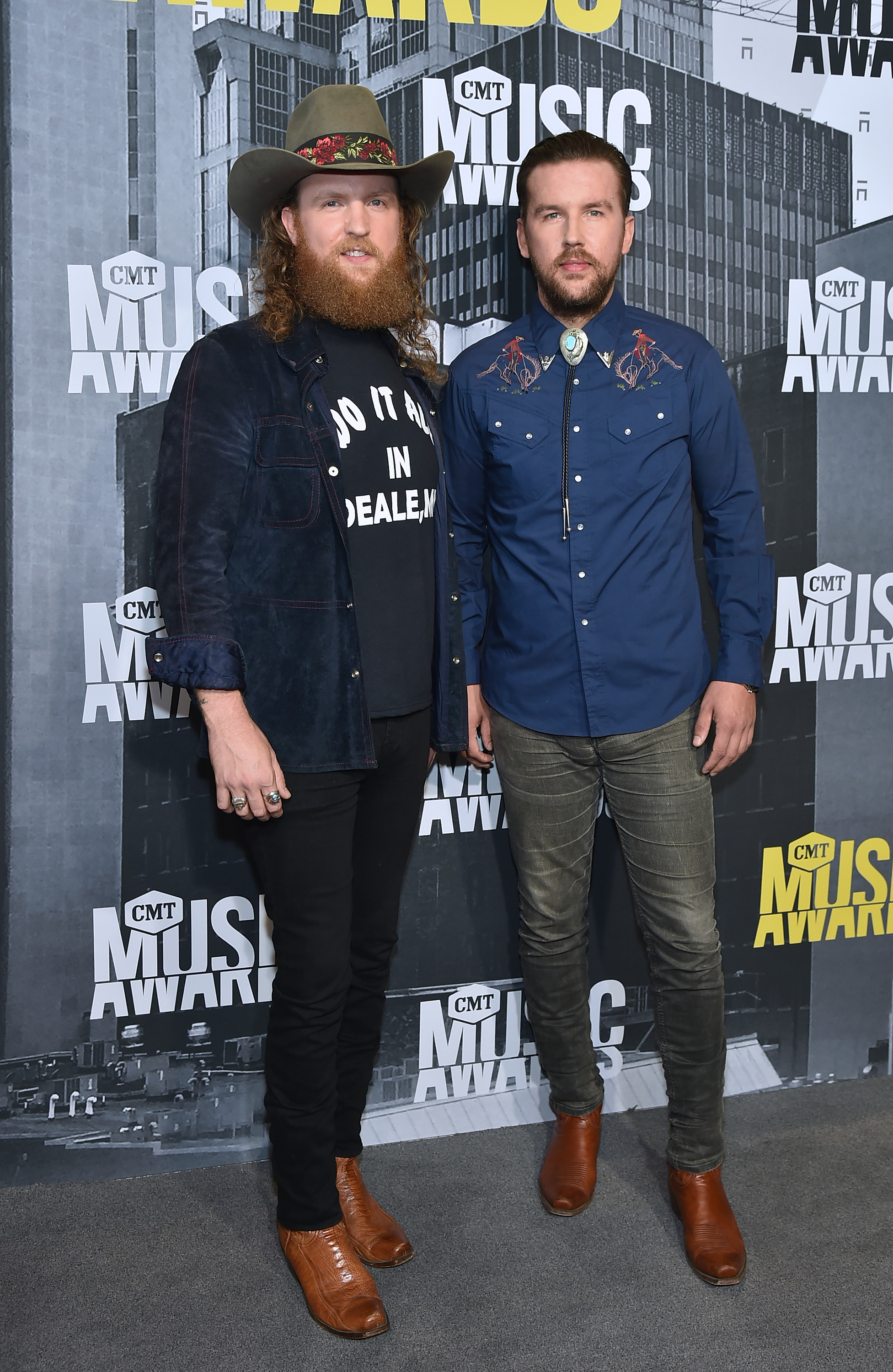NASHVILLE, TN - JUNE 07: Musicians John Osborne (L) and T.J. Osborne (R) of Brothers Osborne attend the 2017 CMT Music Awards at the Music City Center on June 7, 2017 in Nashville, Tennessee. (Photo by Mike Coppola/WireImage)