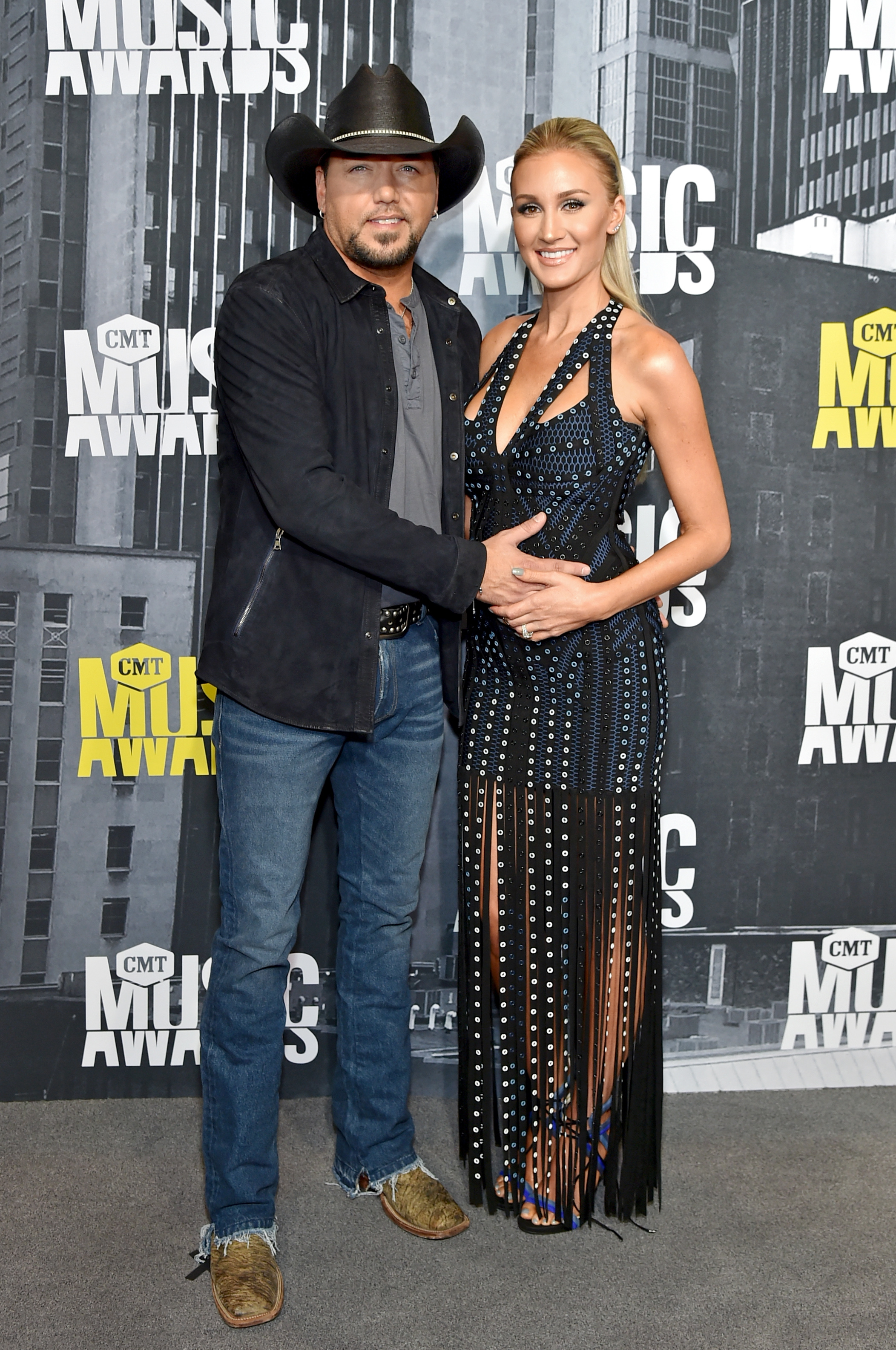 NASHVILLE, TN - JUNE 07: Singer-songwriter Jason Aldean and Brittany Kerr attend the 2017 CMT Music Awards at the Music City Center on June 7, 2017 in Nashville, Tennessee. (Photo by Mike Coppola/WireImage)