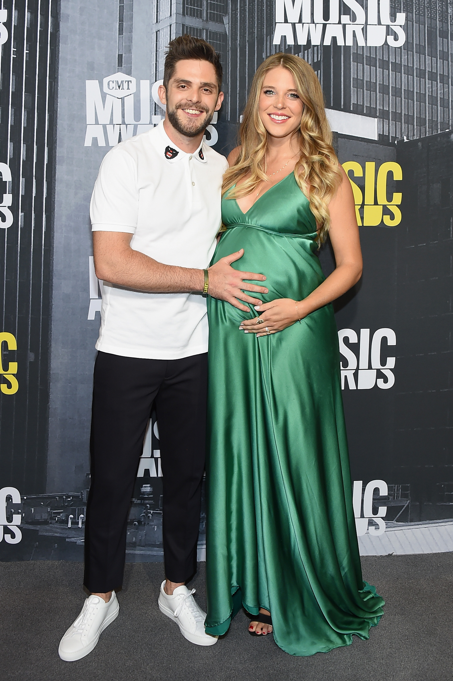 NASHVILLE, TN - JUNE 07: Musician Thomas Rhett and wife Lauren Akins attend the 2017 CMT Music Awards at the Music City Center on June 7, 2017 in Nashville, Tennessee. (Photo by Michael Loccisano/Getty Images For CMT)