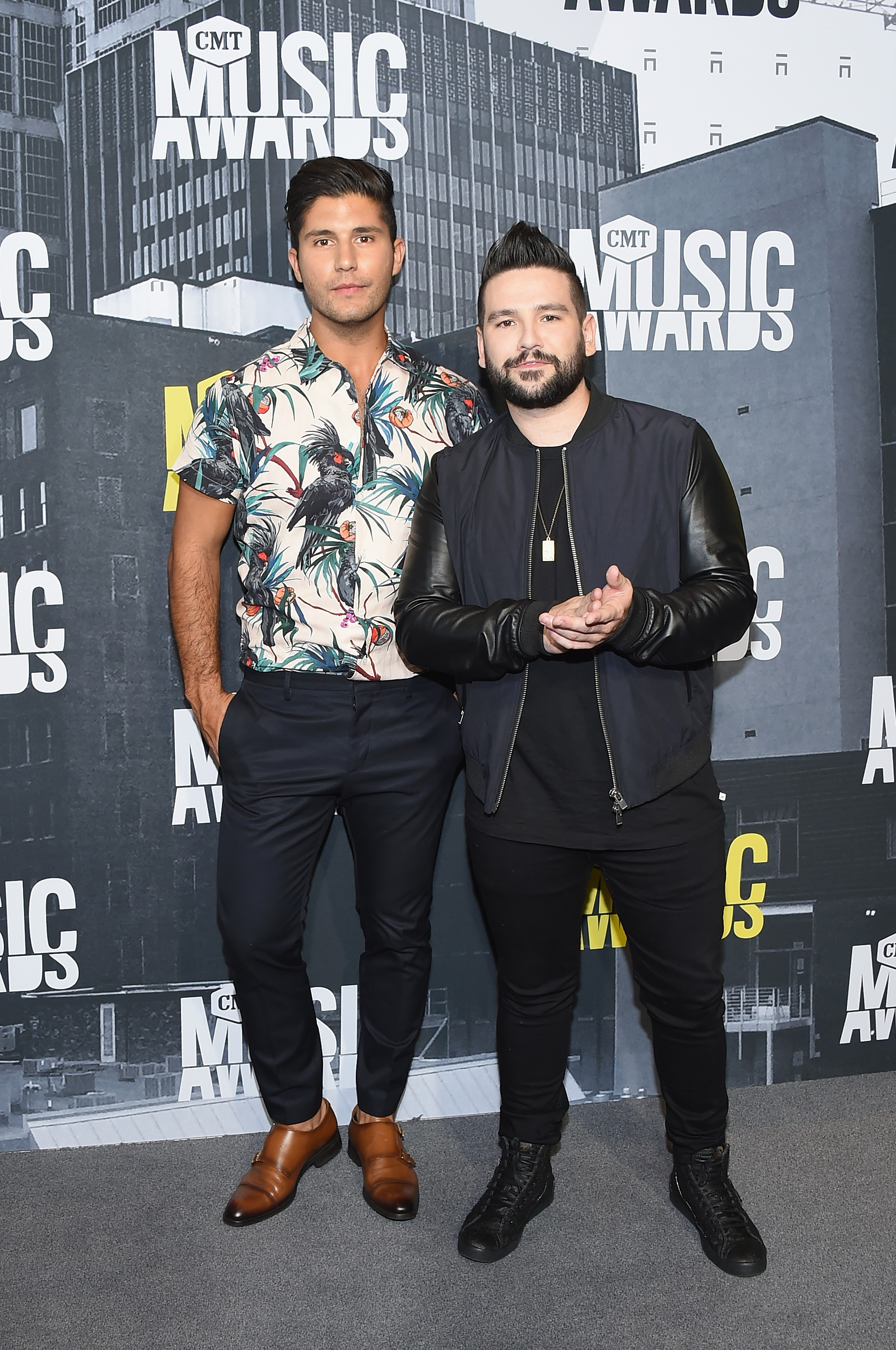 NASHVILLE, TN - JUNE 07: Recording artists Dan Smyers (L) and Shay Mooney of Dan + Shay attend the 2017 CMT Music Awards at the Music City Center on June 7, 2017 in Nashville, Tennessee. (Photo by Michael Loccisano/Getty Images For CMT)