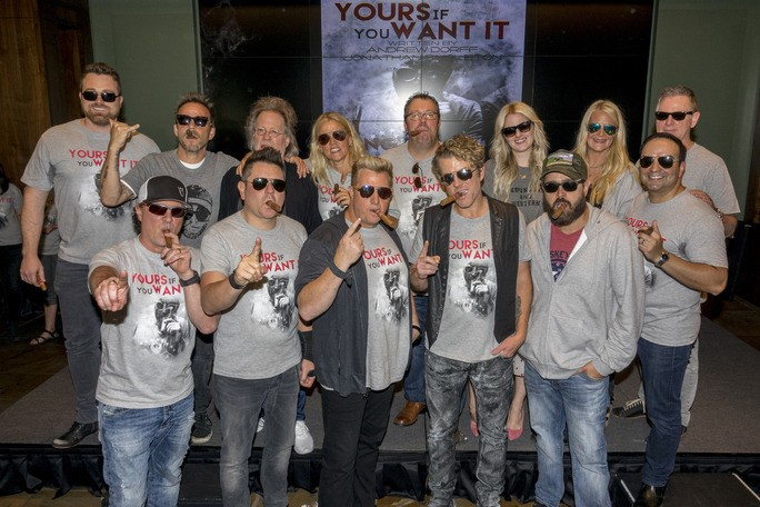 Pictured L-R: Back Row – Big Machine Records' Kris Lamb, Stephen Dorff, Steve Dorff, BMI's Leslie Roberts, Universal's Kent Earls, ASCAP's Beth Brinker, Big Machine Label Group's Allison Jones, BMR's Jim Weatherson; Front Row – BMLG's Scott Borchetta, Rascal Flatts, Jonathan Singleton, Big Machine Music's Mike Molinar; Photo courtesy of The Greenroom PR