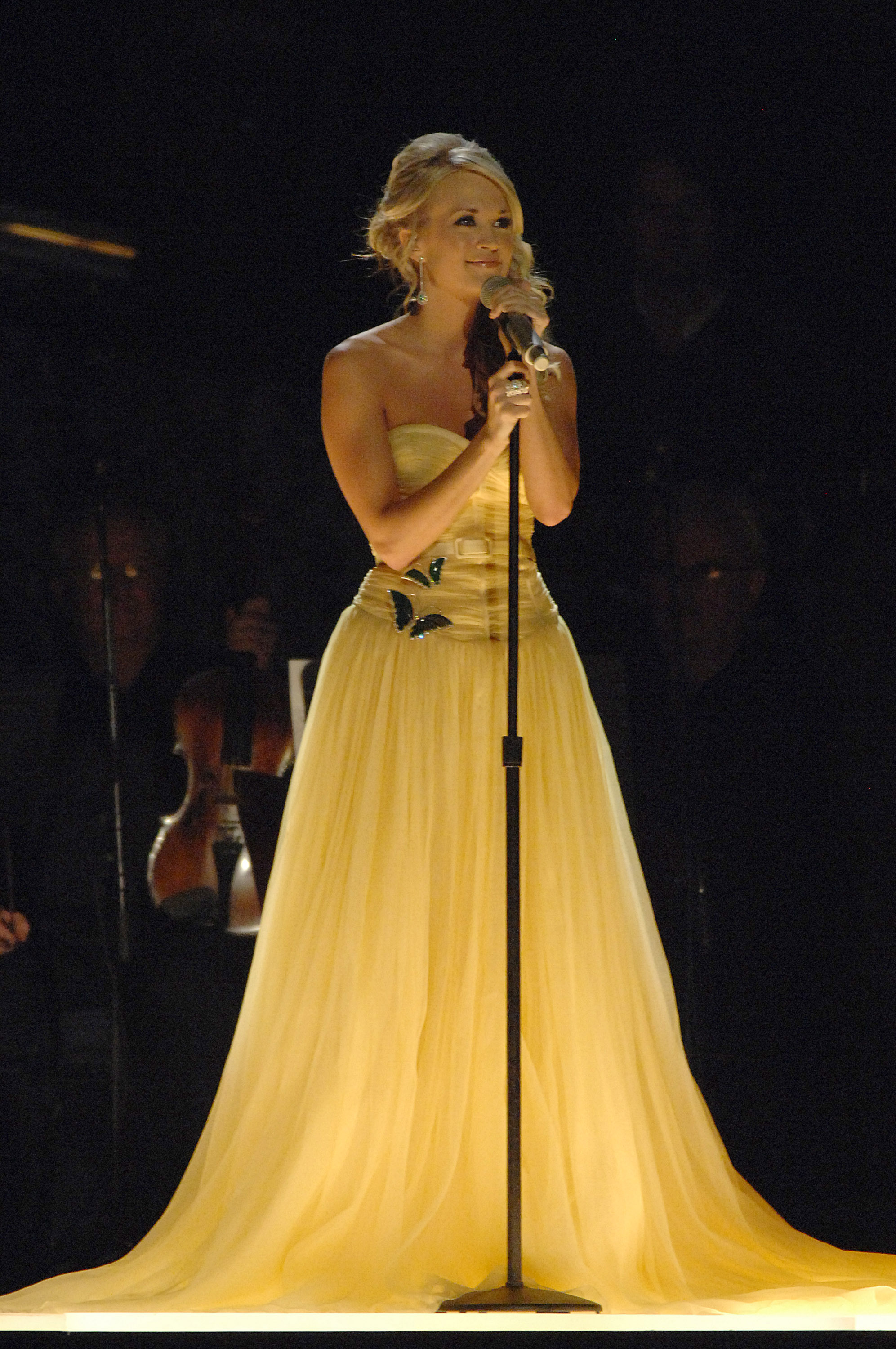 Carrie Underwood on stage at the 41st Annual CMA Awards at the Sommet Center on November 7, 2007 in Nashville TN; Photo by Rick Diamond/WireImage