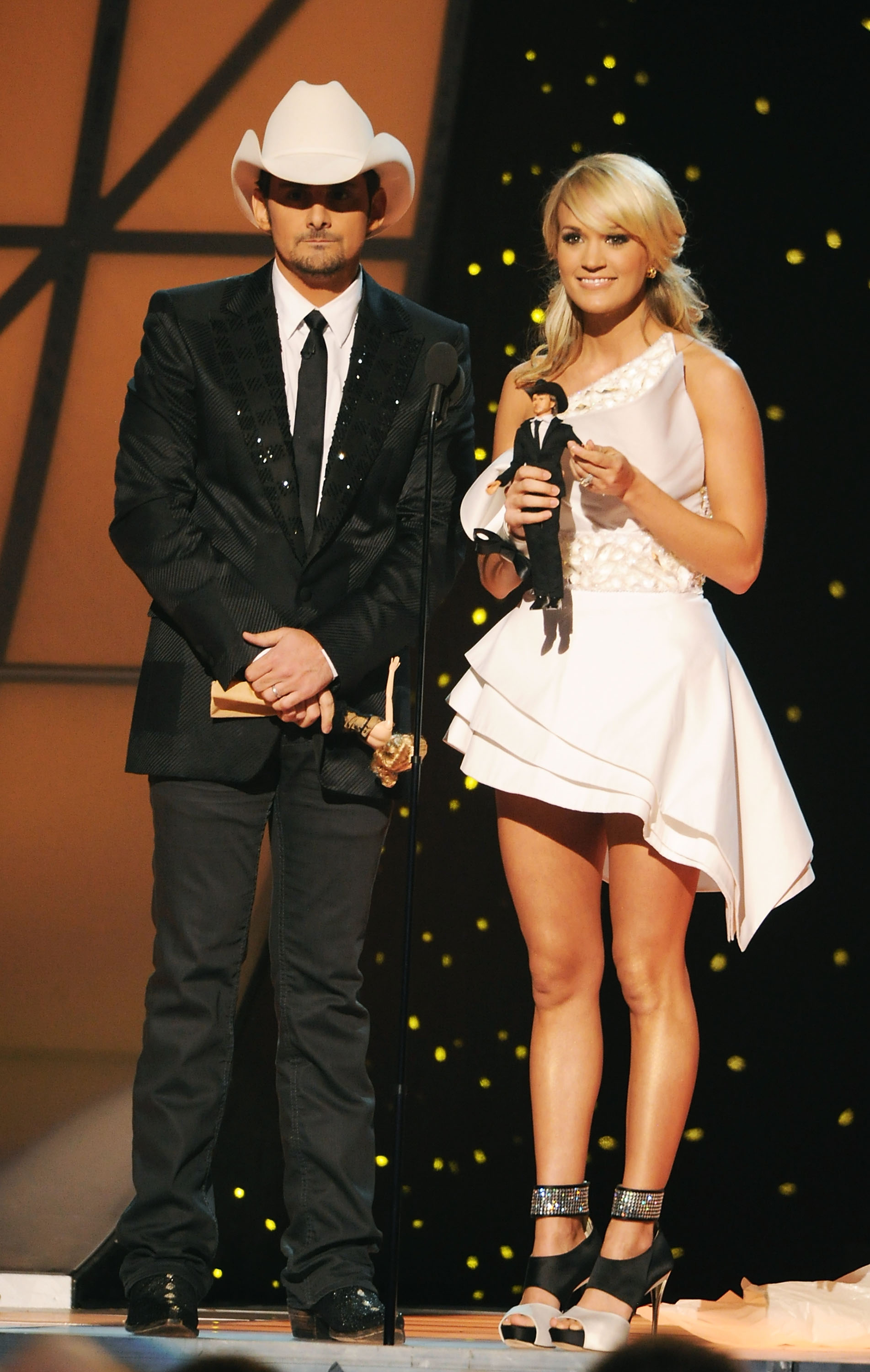 Carrie Underwood and Brad Paisley at the 45th annual CMA Awards on November 9, 2011; Photo by Rick Diamond/Getty Images