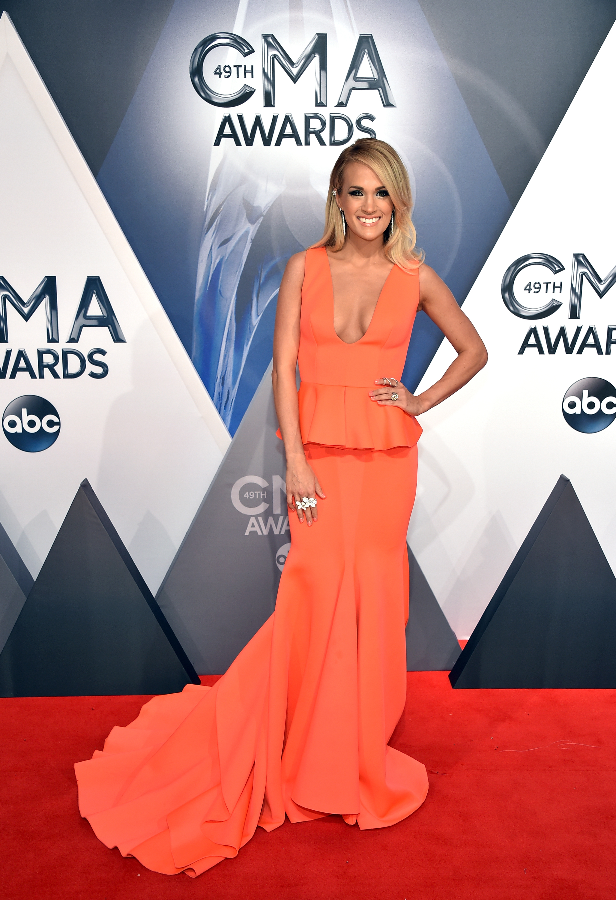 Carrie Underwood at the 49th annual CMA Awards on November 4, 2015; Photo by John Shearer/WireImage