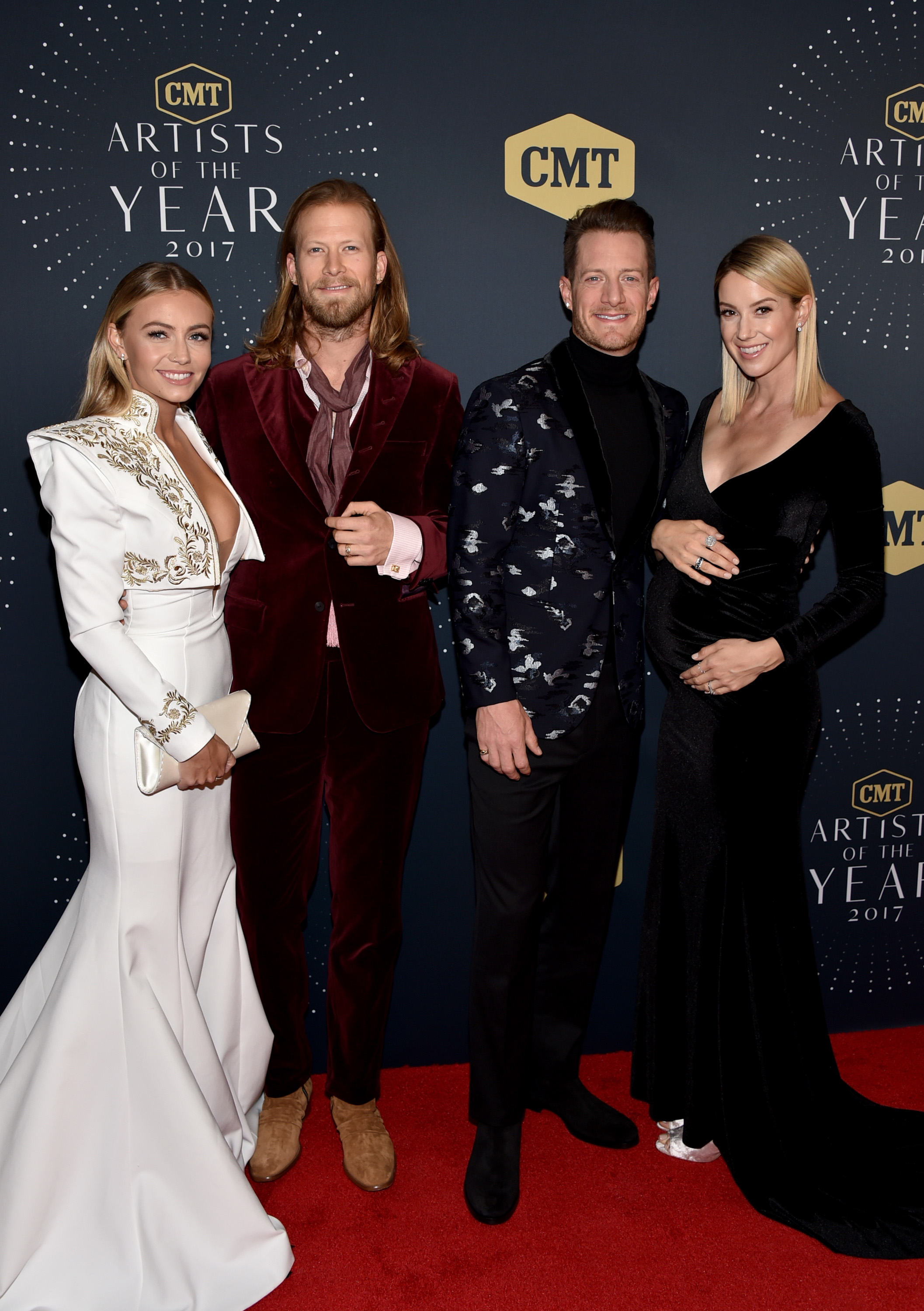 Brittney Marie Cole, Florida Georgia Line's Brian Kelley and Tyler Hubbard, and Hayley Stommel; Photo by John Shearer/Getty Images for CMT