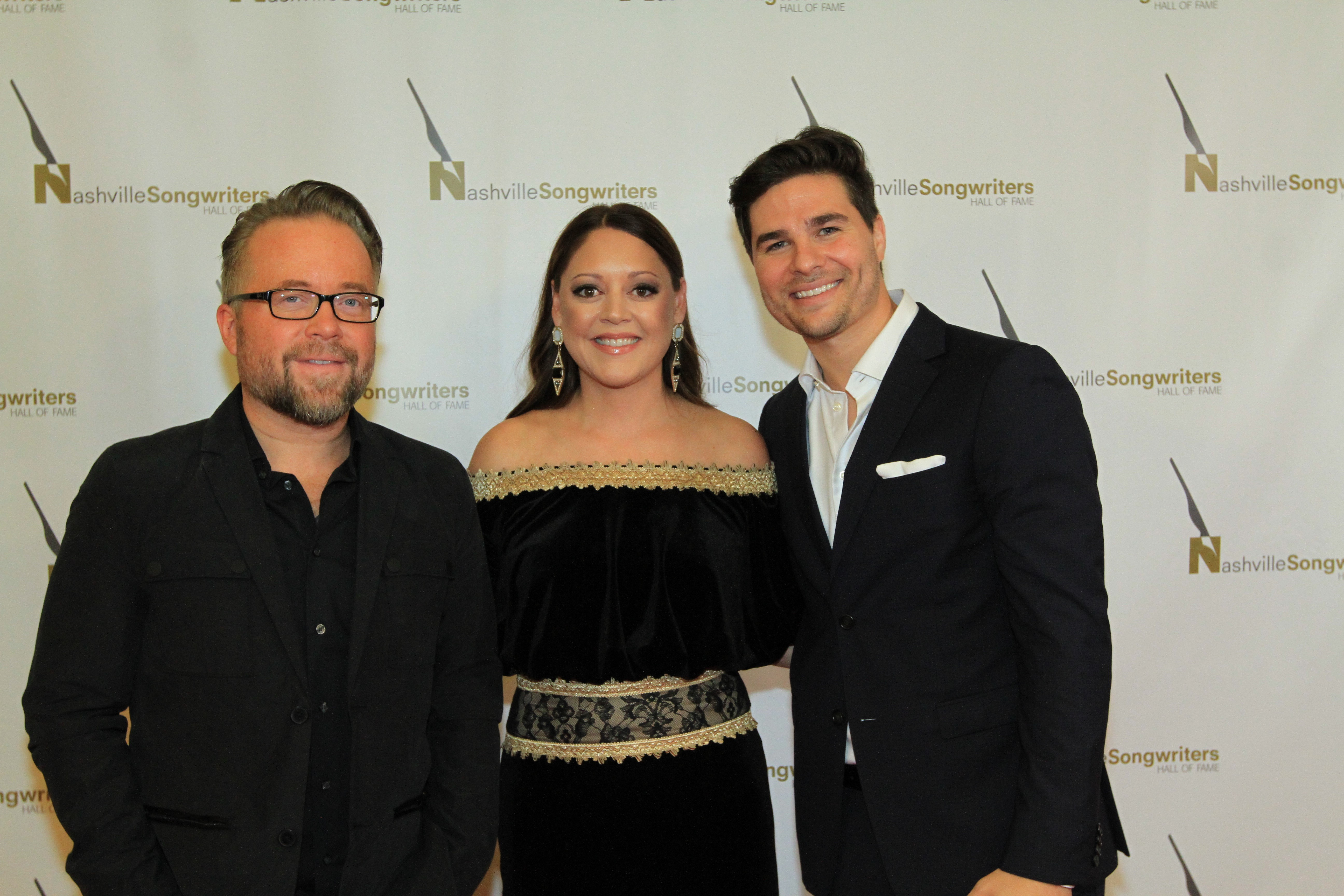 """Photo (l-r) Clint Lagerberg, Hillary Lindsey and Steven Lee Olsen, writers of NSAI Song of the Year """"Blue Ain't Your Color.""""; Photo by Bev Moser"""