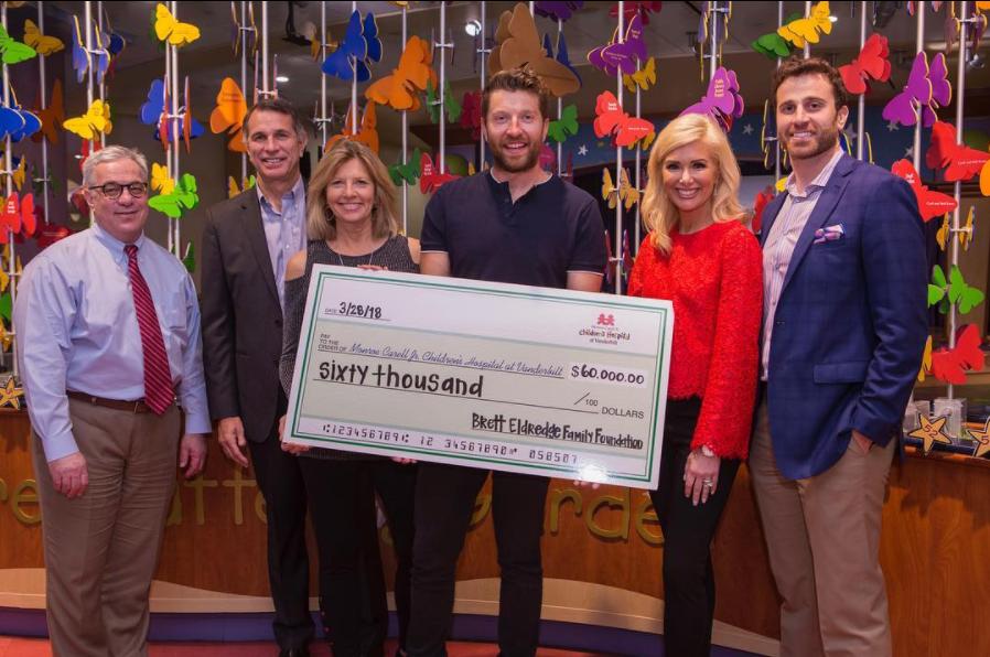 Brett Eldredge Presents $60,000 Check to Monroe Carell Jr. Children's Hospital