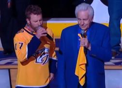 Dierks Bentley and Del McCoury Perform National Anthem at Nashville Predators Game