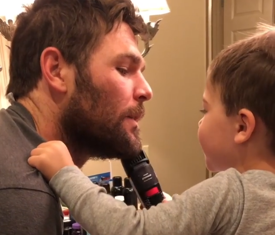 Mike Fisher & Carrie Underwood's Son Helps Shave NHL Playoffs Beard
