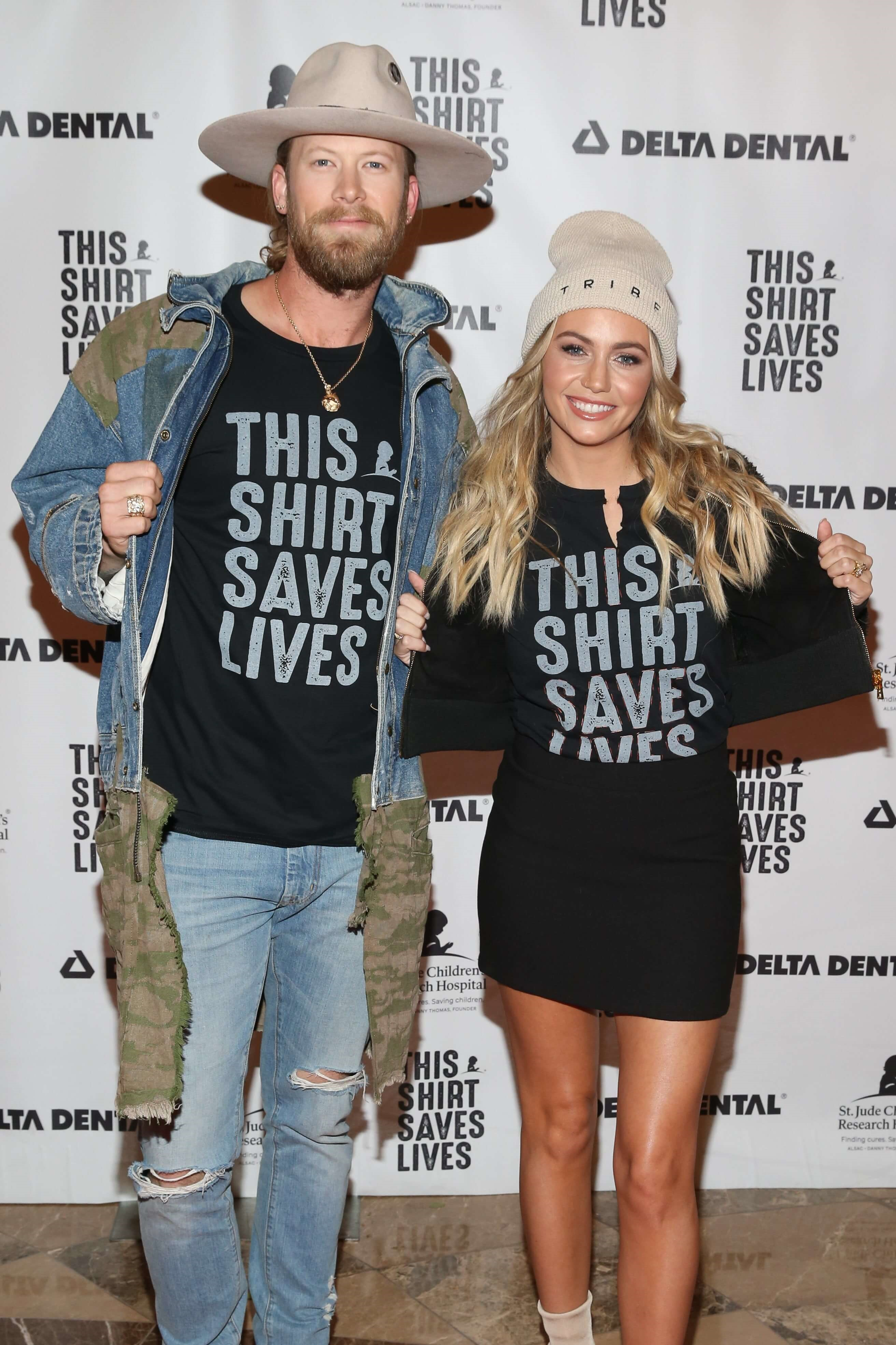 Florida Georgia Line's Brian Kelley and his wife Brittney Cole Kelley at the #ThisShirtSavesLives event.