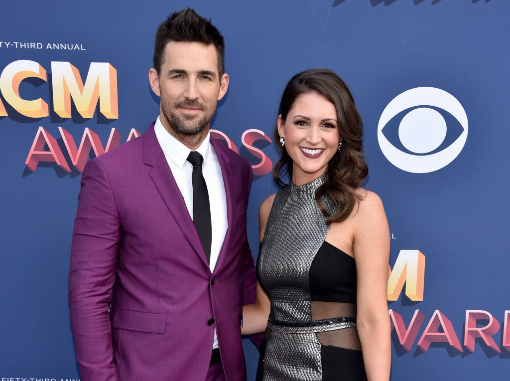 Jake Owen and girlfriend Erica Hartlein attend the 53rd ACM Awards in Las Vegas