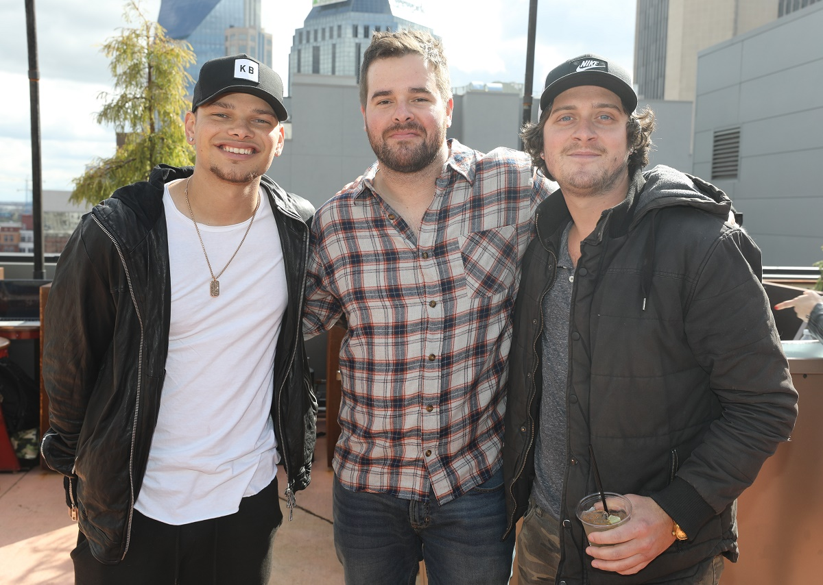 Kane Brown and friends/co-writers Matt McGinn and Will Weatherly enjoy the Experiment album release party. Photo credit: Alan Poizner
