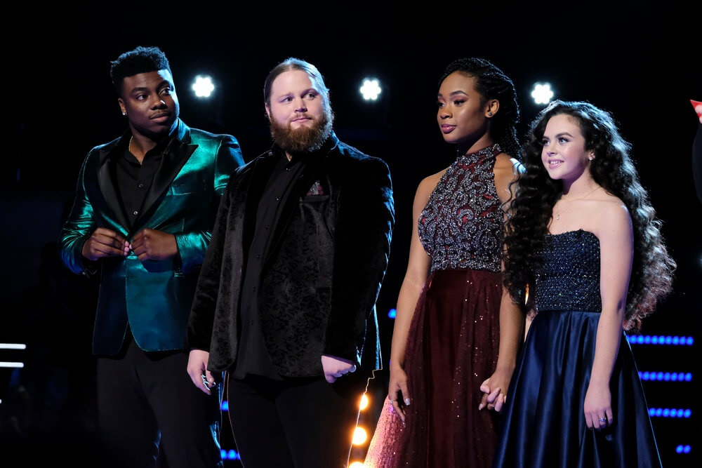 "THE VOICE -- ""Live Finale Results"" Episode 1519B -- Pictured: (l-r) Kirk Jay, Chris Kroeze, Kennedy Holmes, Chevel Shepherd -- (Photo by: Trae Patton/NBC)"