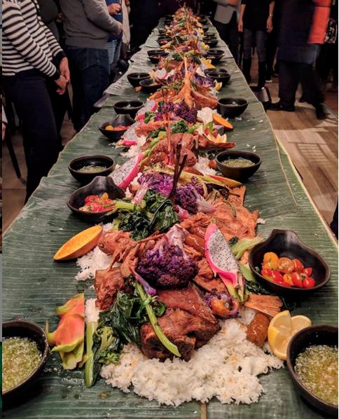 Kamayan feast, dining, Nashville