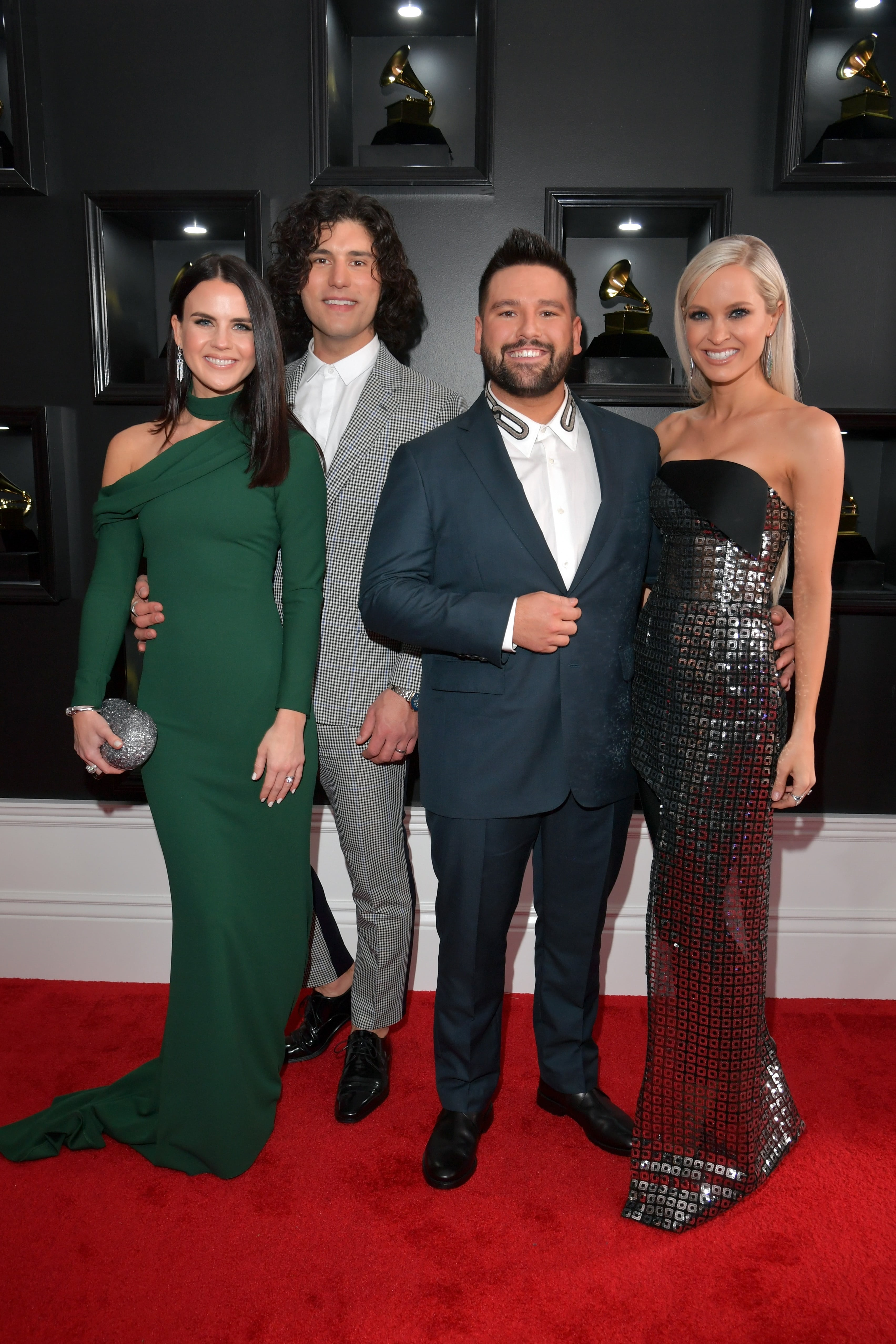 LOS ANGELES, CA - FEBRUARY 10: (L-R) Abby Law, Dan Smyers and Shay Mooney of Dan + Shay, and Hannah Mooney attend the 61st Annual GRAMMY Awards at Staples Center on February 10, 2019 in Los Angeles, California. (Photo by Lester Cohen/Getty Images for The Recording Academy)