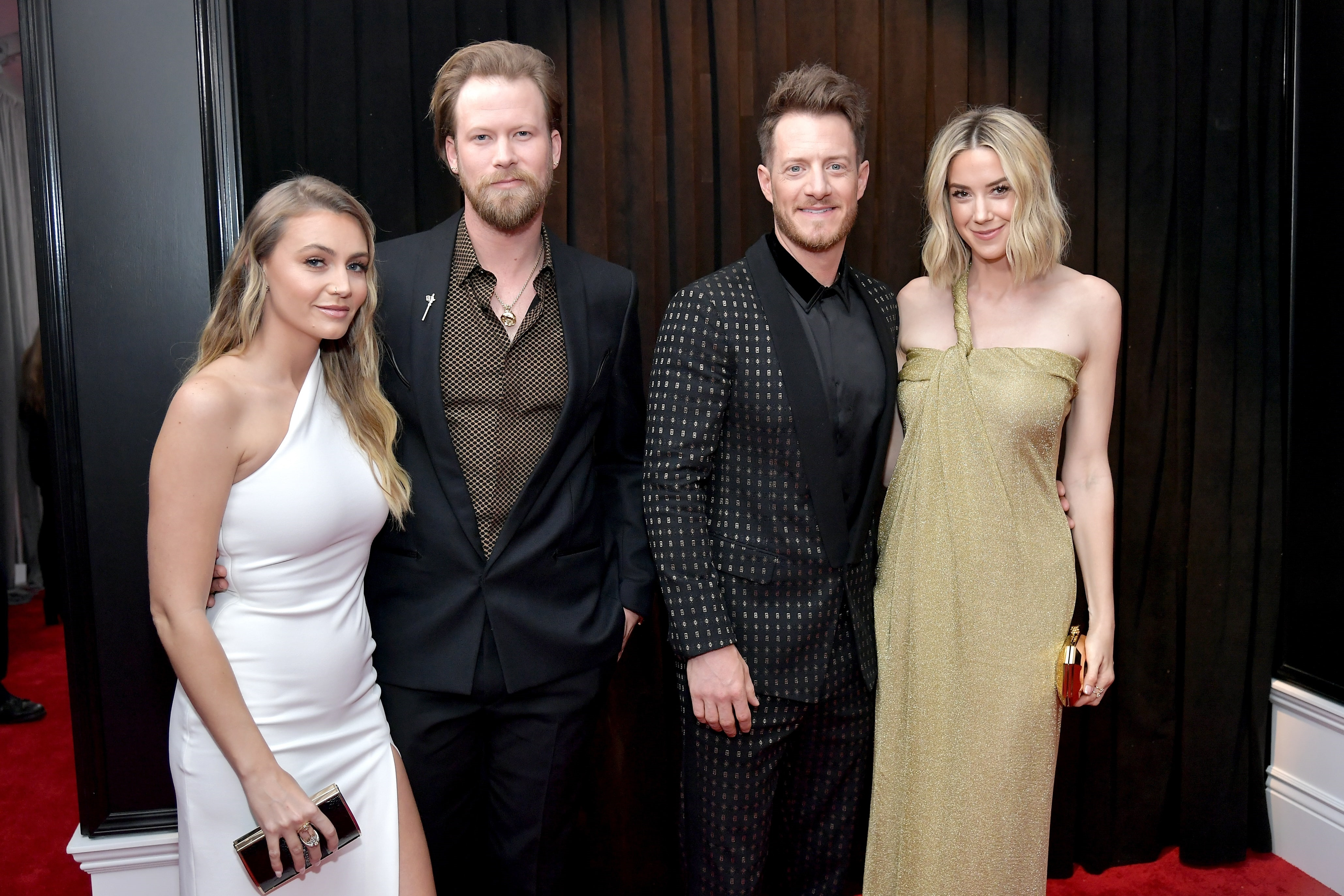 LOS ANGELES, CA - FEBRUARY 10: (L-R) Brittney Marie Cole, Brian Kelley and Tyler Hubbard of 'Florida Georgia Line', and Hayley Stommel attend the 61st Annual GRAMMY Awards at Staples Center on February 10, 2019 in Los Angeles, California. (Photo by Neilson Barnard/Getty Images for The Recording Academy)