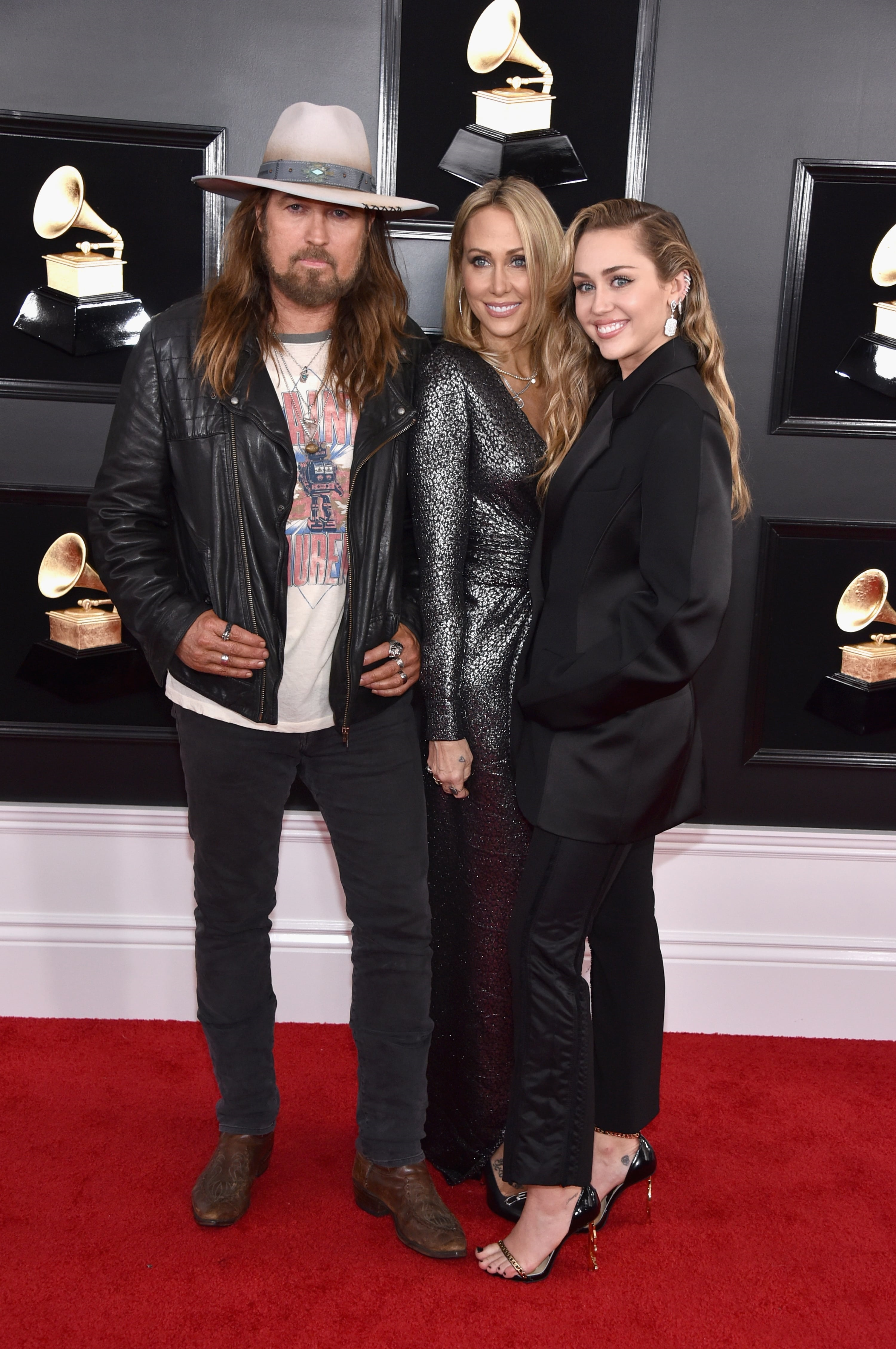 LOS ANGELES, CA - FEBRUARY 10: (L-R) Billy Ray Cyrus, Tish Cyrus, and Miley Cyrus attend the 61st Annual GRAMMY Awards at Staples Center on February 10, 2019 in Los Angeles, California. (Photo by John Shearer/Getty Images for The Recording Academy)