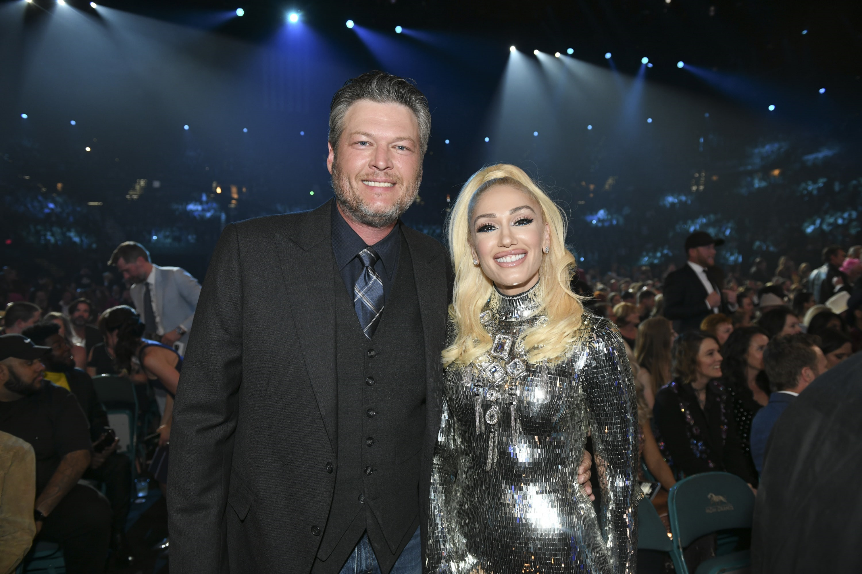 Blake Shelton and Gwen Stefani during the 54TH ACADEMY OF COUNTRY MUSIC AWARDS, to broadcast LIVE from MGM Grand Garden Arena in Las Vegas Sunday, April 7, 2019 (8:00-11:00 PM, ET/delayed PT) on the CBS Television Network. Photo: Sam Morris/CBS ©2019 CBS Broadcasting, Inc. All Rights Reserved