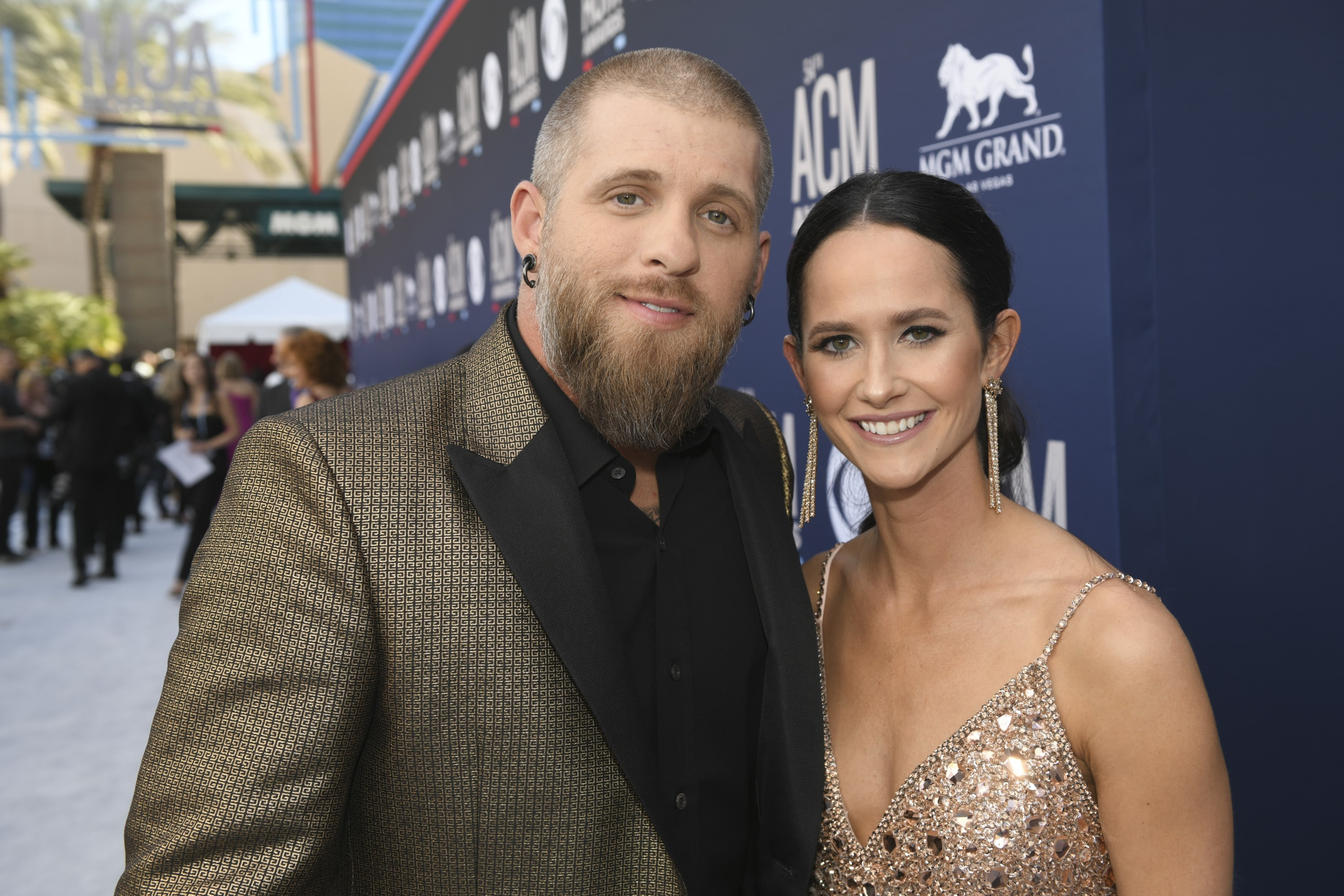 Brantley Gilbert and Amber Cochran during the 54TH ACADEMY OF COUNTRY MUSIC AWARDS, to broadcast LIVE from MGM Grand Garden Arena in Las Vegas Sunday, April 7, 2019 (8:00-11:00 PM, ET/delayed PT) on the CBS Television Network. Photo: Sam Morris/CBS ©2019 CBS Broadcasting, Inc. All Rights Reserved