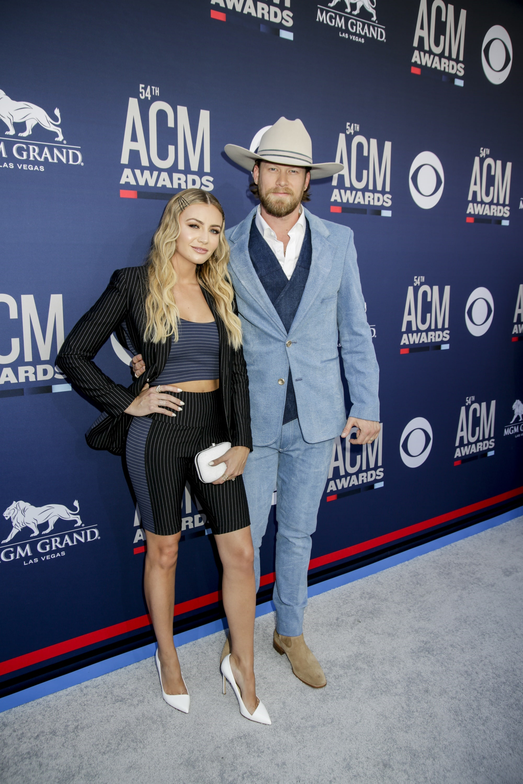 Brittney Kelley and Brian Kelley from the Georgia Florida Lines attends the 54TH ACADEMY OF COUNTRY MUSIC AWARDS, to broadcast LIVE from MGM Grand Garden Arena in Las Vegas Sunday, April 7, 2019 (8:00-11:00 PM, ET/delayed PT) on the CBS Television Network. Photo: Francis Specker/CBS ©2019 CBS Broadcasting, Inc. All Rights Reserved.
