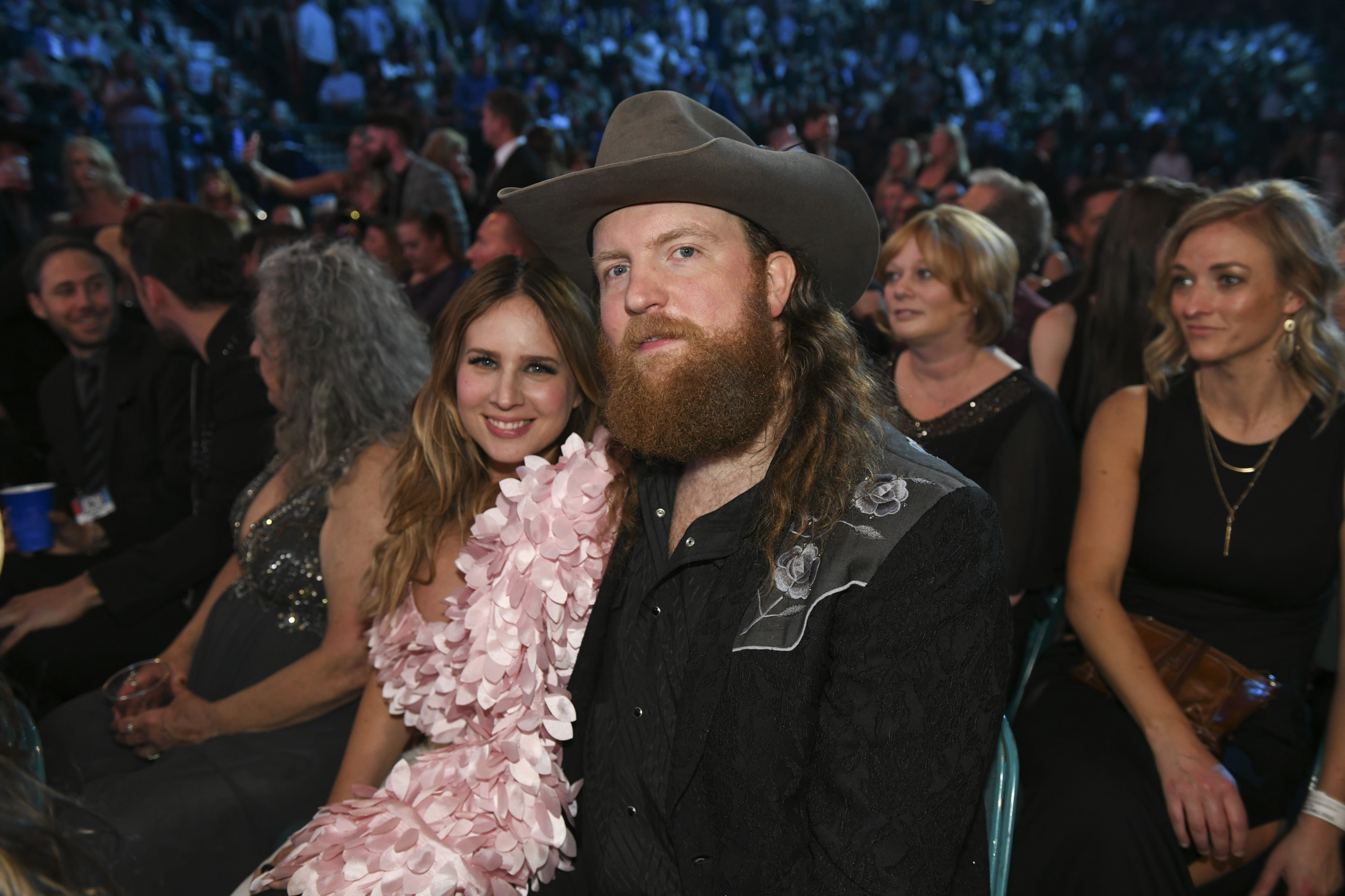 John Osborne of Brothers Osborne and Lucie Silvas during the 54TH ACADEMY OF COUNTRY MUSIC AWARDS, to broadcast LIVE from MGM Grand Garden Arena in Las Vegas Sunday, April 7, 2019 (8:00-11:00 PM, ET/delayed PT) on the CBS Television Network. Photo: Sam Morris/CBS ©2019 CBS Broadcasting, Inc. All Rights Reserved