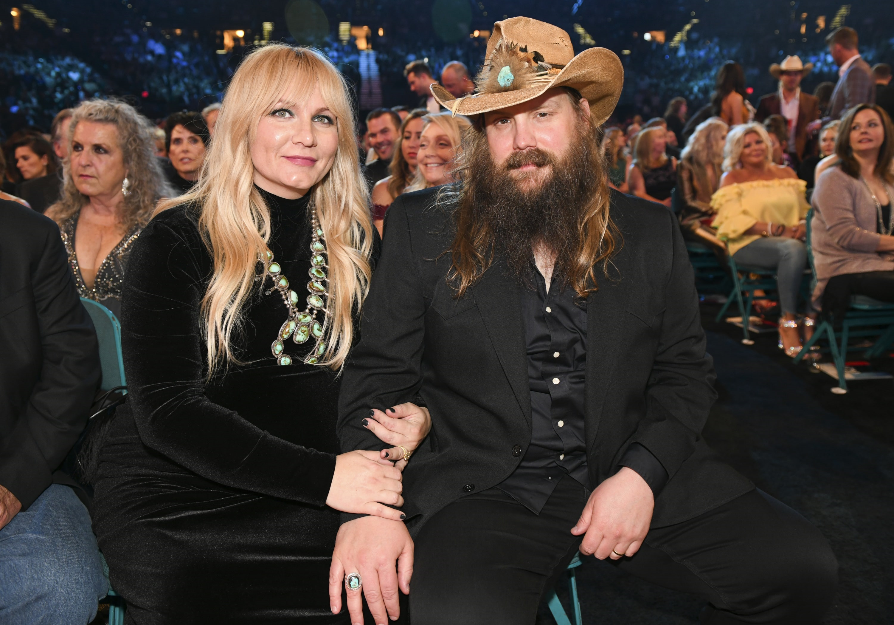 Chris Stapleton and wife Morgane during the 54TH ACADEMY OF COUNTRY MUSIC AWARDS, to broadcast LIVE from MGM Grand Garden Arena in Las Vegas Sunday, April 7, 2019 (8:00-11:00 PM, ET/delayed PT) on the CBS Television Network. Photo: Sam Morris/CBS ©2019 CBS Broadcasting, Inc. All Rights Reserved