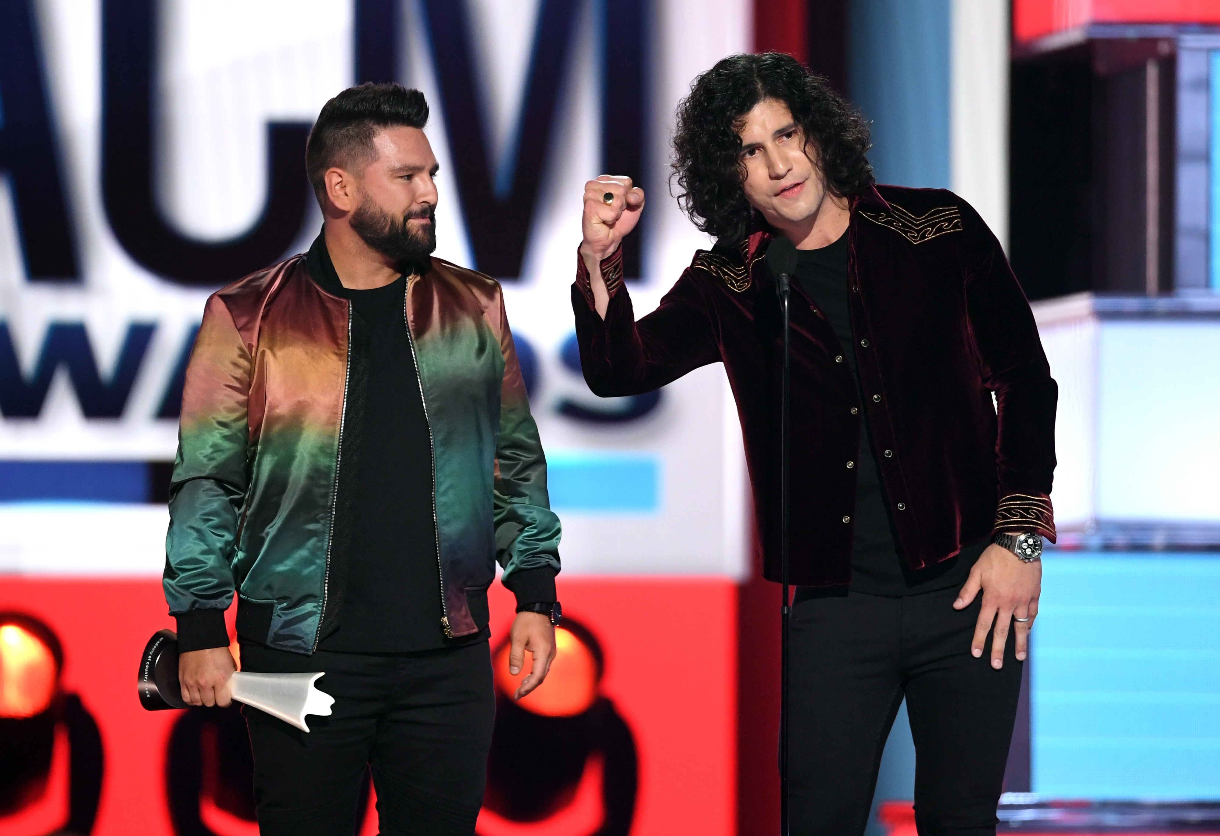 LAS VEGAS, NEVADA - APRIL 07: (L-R) Shay Mooney and Dan Smyers of Dan + Shay accept the Duo of the Year award onstage during the 54th Academy Of Country Music Awards at MGM Grand Garden Arena on April 07, 2019 in Las Vegas, Nevada. (Photo by Kevin Winter/Getty Images)