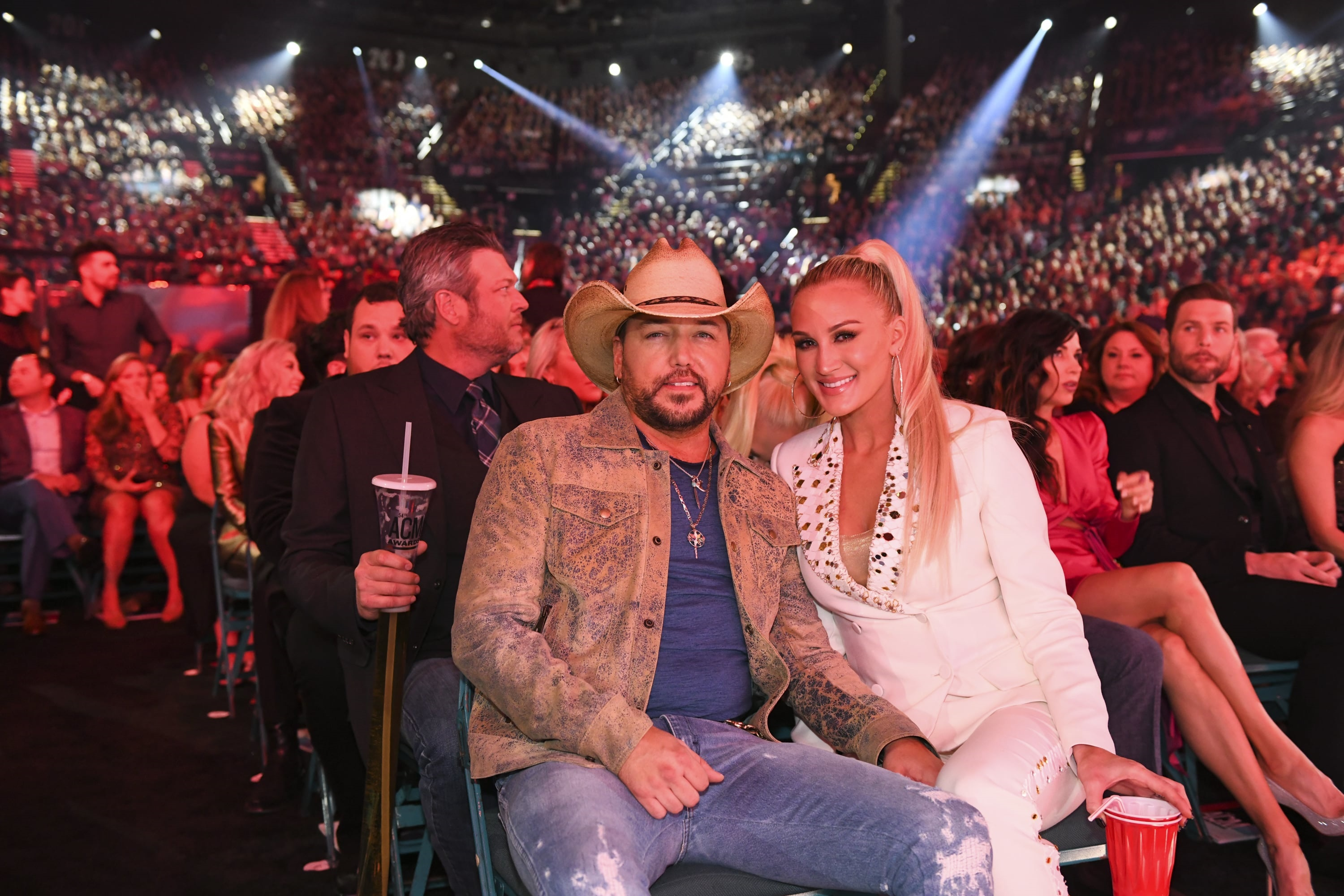 Jason Aldean and Brittany Aldean during the 54TH ACADEMY OF COUNTRY MUSIC AWARDS, to broadcast LIVE from MGM Grand Garden Arena in Las Vegas Sunday, April 7, 2019 (8:00-11:00 PM, ET/delayed PT) on the CBS Television Network. Photo: Sam Morris/CBS ©2019 CBS Broadcasting, Inc. All Rights Reserved