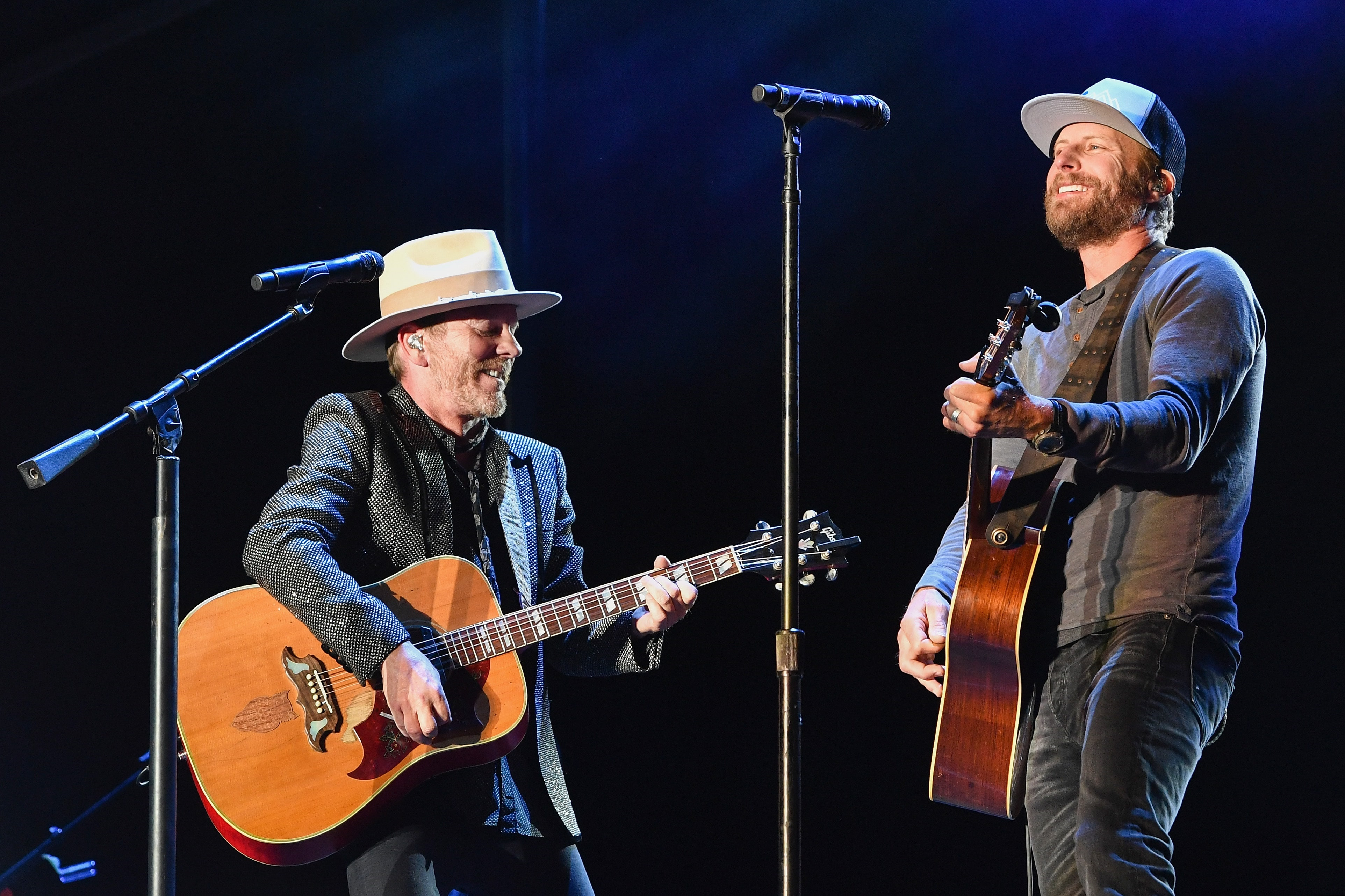 BUENA VISTA, CO - SEPTEMBER 01: Kiefer Sutherland (L) and Dierks Bentley perform on Day 2 of Seven Peaks Festival on September 1, 2018 in Buena Vista, Colorado. (Photo by Erika Goldring/Getty Images)