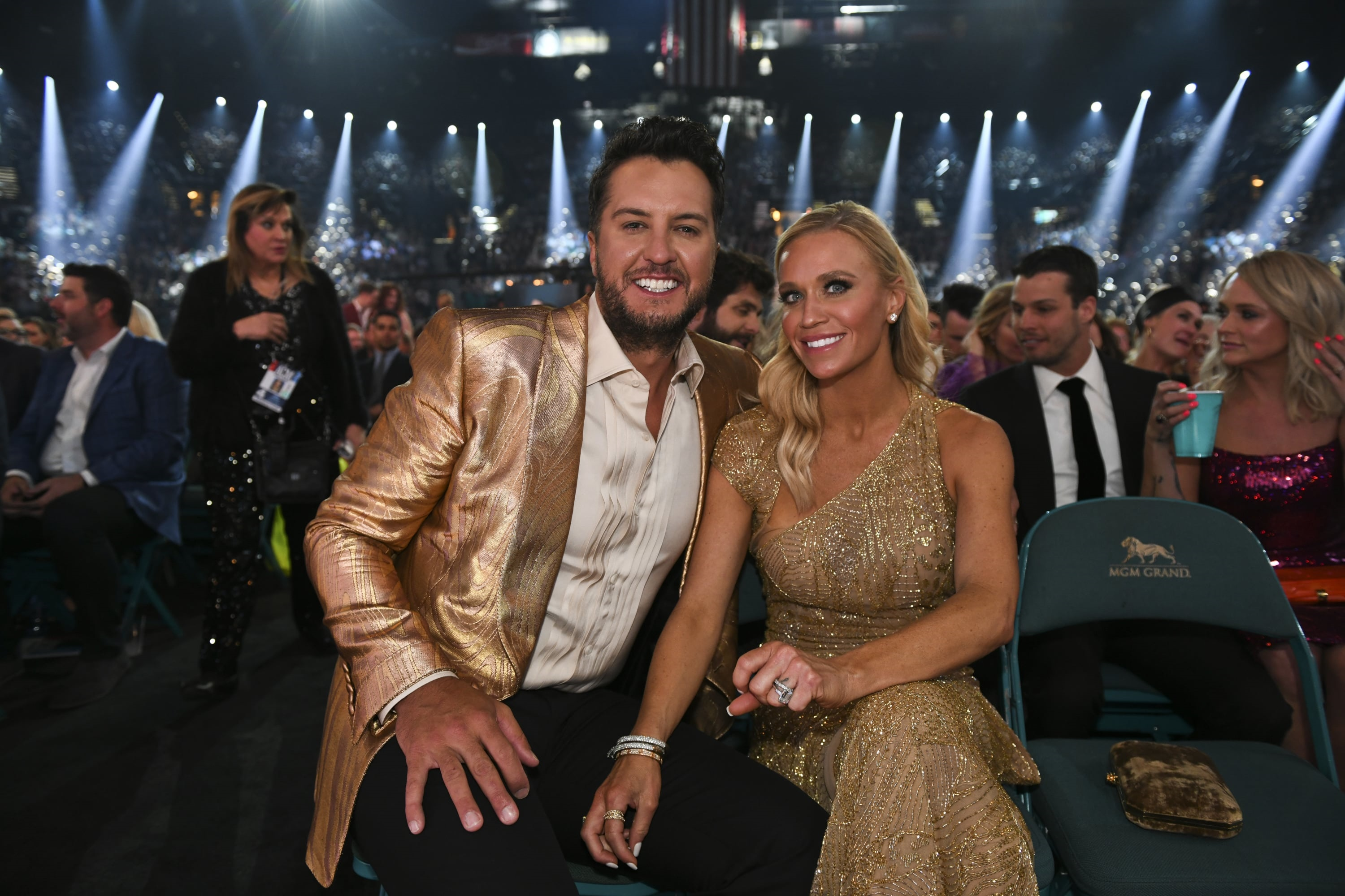 Luke Bryan and wife Caroline during the 54TH ACADEMY OF COUNTRY MUSIC AWARDS, to broadcast LIVE from MGM Grand Garden Arena in Las Vegas Sunday, April 7, 2019 (8:00-11:00 PM, ET/delayed PT) on the CBS Television Network. Photo: Sam Morris/CBS ©2019 CBS Broadcasting, Inc. All Rights Reserved