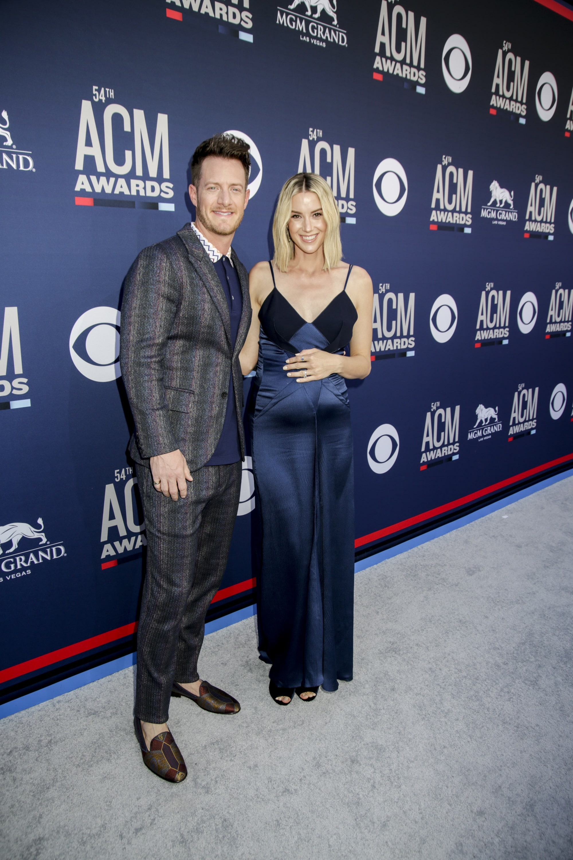 Tyler Hubbard of Florida Georgia Line and Hayley Hubbard attends the 54TH ACADEMY OF COUNTRY MUSIC AWARDS, to broadcast LIVE from MGM Grand Garden Arena in Las Vegas Sunday, April 7, 2019 (8:00-11:00 PM, ET/delayed PT) on the CBS Television Network. Photo: Francis Specker/CBS ©2019 CBS Broadcasting, Inc. All Rights Reserved.
