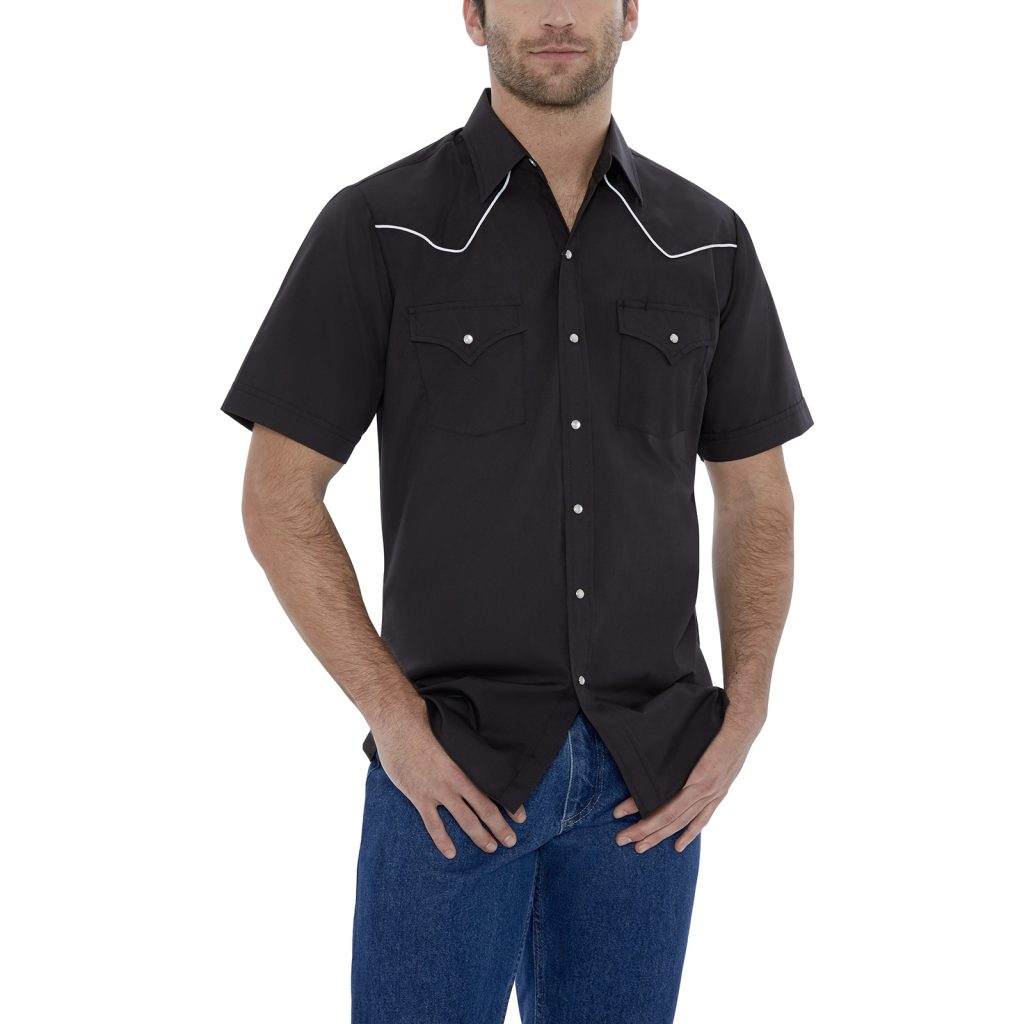 Ely Cattleman Long Sleeve Solid Black with White Piping; Photo courtesy of Ely Cattleman