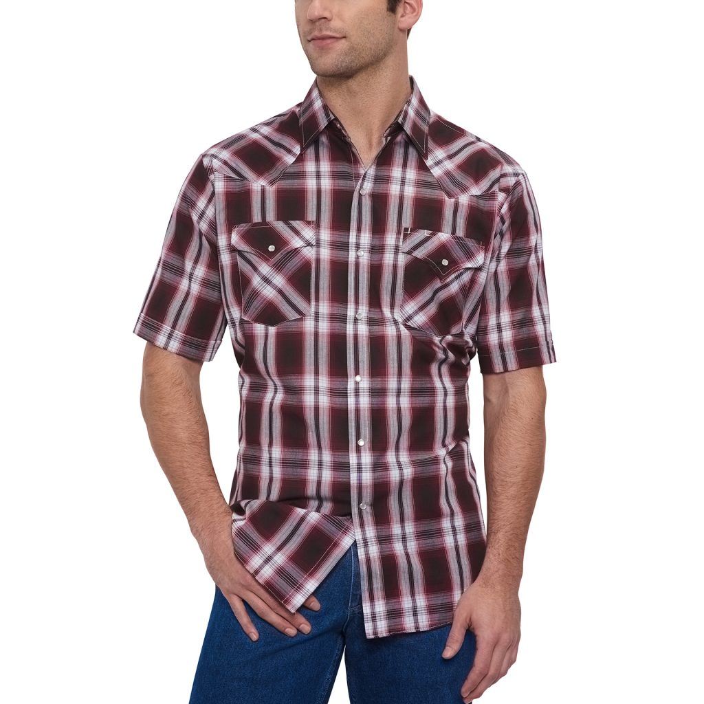 Ely Cattleman Wine Plaid Western Shirt; Photo courtesy of Ely Cattleman
