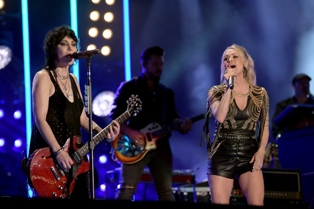 NASHVILLE, TENNESSEE - JUNE 07: Joan Jett and Carrie Underwood perform on stage during day 2 for the 2019 CMA Music Festival on June 07, 2019 in Nashville, Tennessee. (Photo by Jason Kempin/Getty Images)
