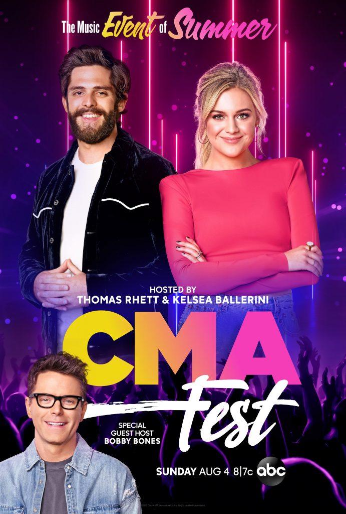Kelsea Ballerini, Thomas Rhett and Bobby Bones; Photo credit: CMA/ABC