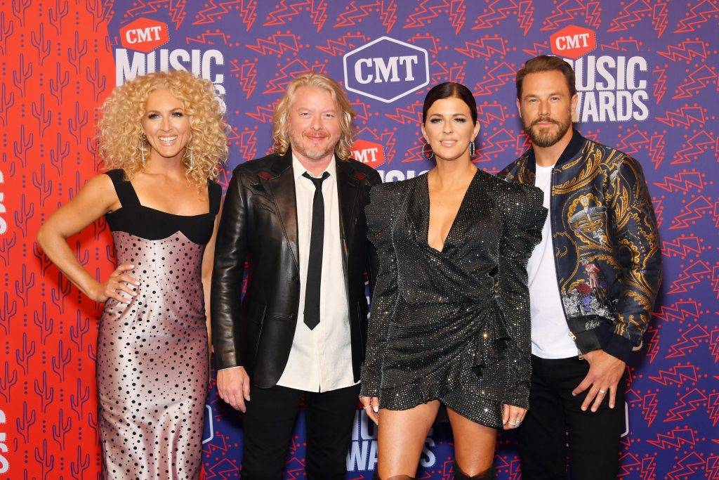 NASHVILLE, TENNESSEE - JUNE 05: (L-R) Kimberly Schlapman, Phillip Sweet, Karen Fairchild and Jimi Westbrook of musical group Little Big Town attend the 2019 CMT Music Award at Bridgestone Arena on June 05, 2019 in Nashville, Tennessee. (Photo by Mike Coppola/Getty Images for CMT)