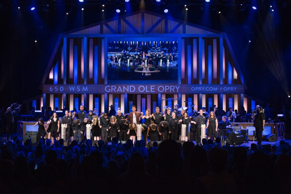 Michael Ray with ACM Lifting Lives Music Campers at the Grand Ole Opry; Photo credit: Rachael Black