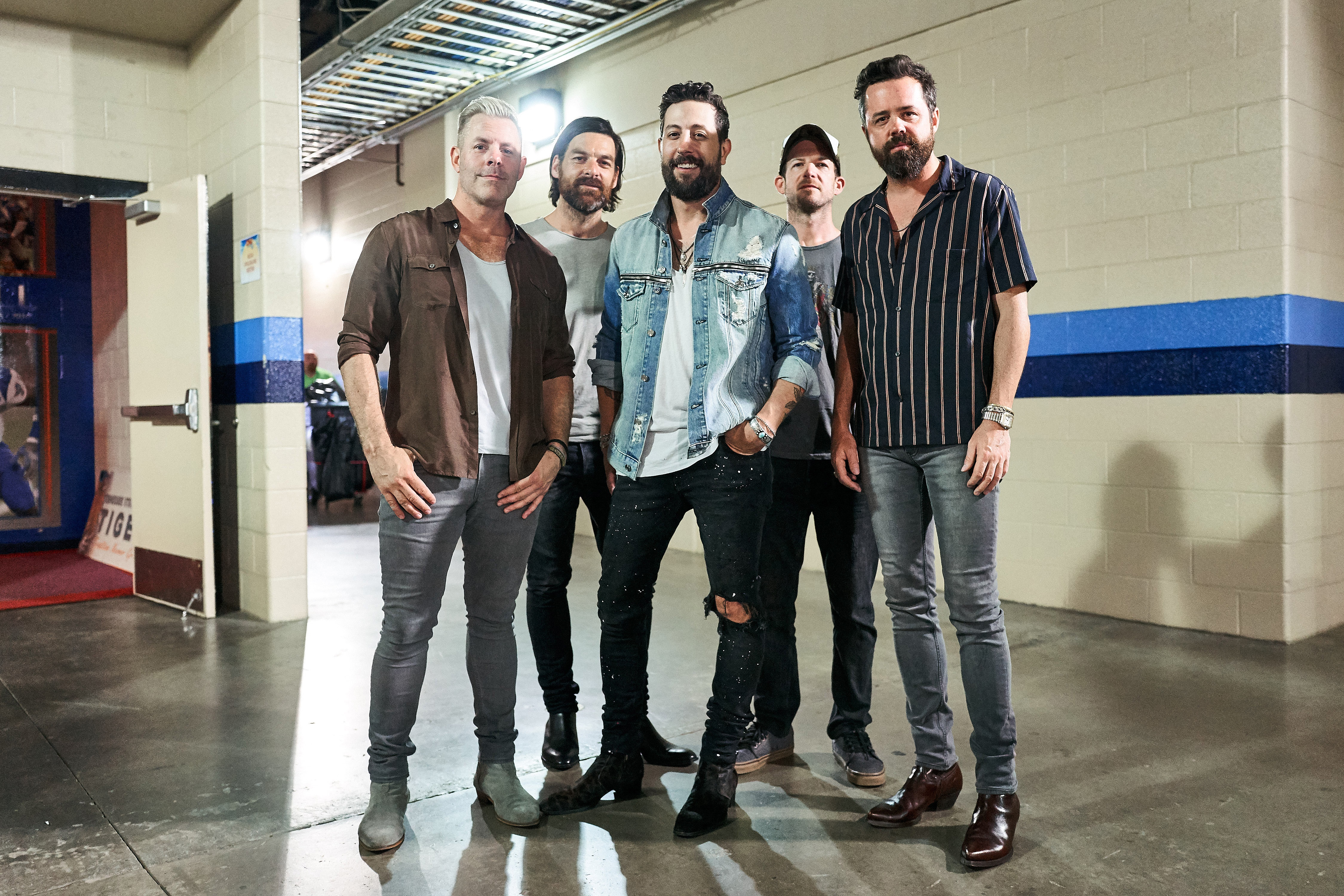 NASHVILLE, TENNESSEE - JUNE 09: Geoff Sprung, Trevor Rosen, Matthew Ramsey, Whit Sellers and Brad Tursi of Old Dominion attend day 4 of the 2019 CMA Music Festival at Nissan Stadium on June 09, 2019 in Nashville, Tennessee. (Photo by John Shearer/Getty Images for CMA)